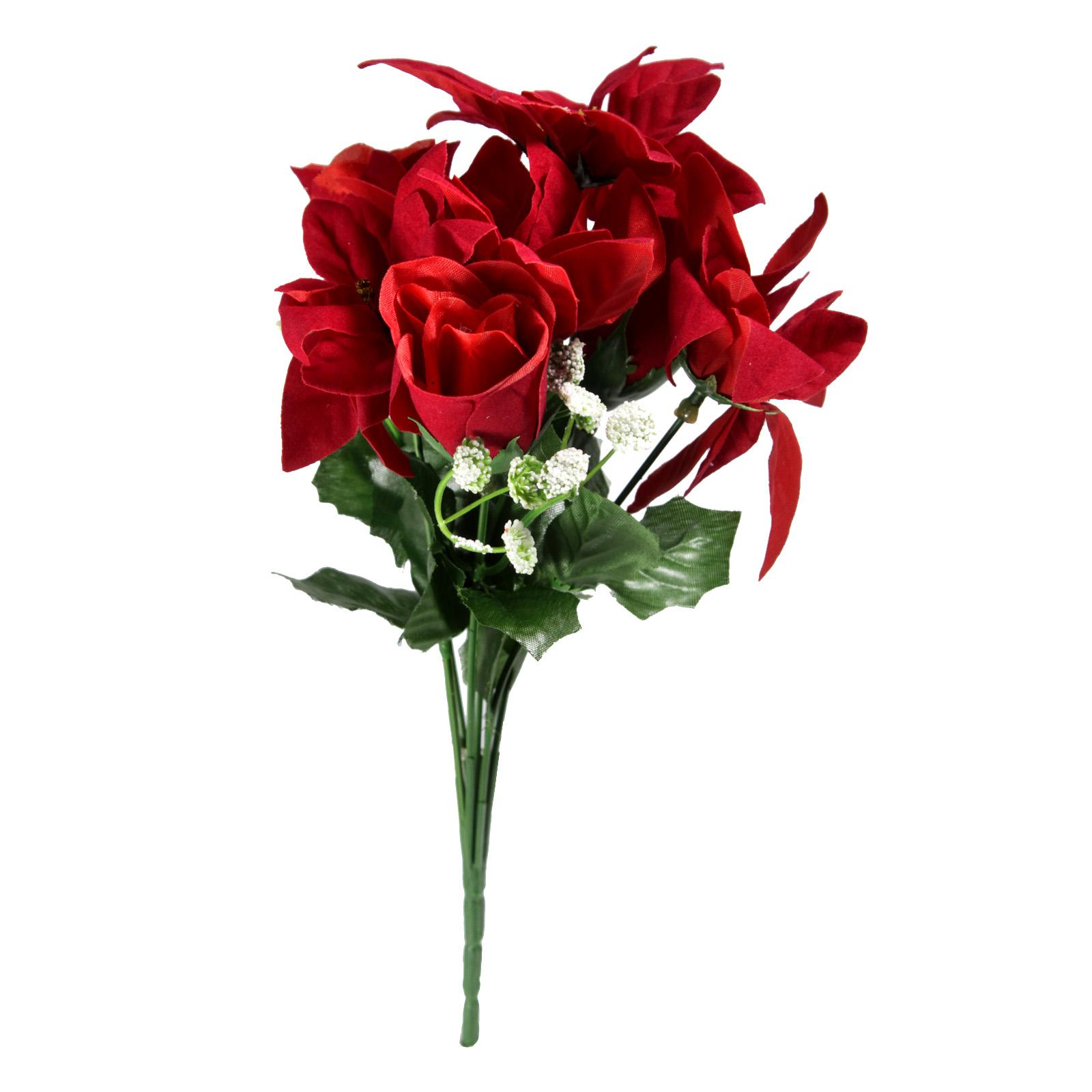 POINSETTIA & ROSEBUD RED/WHITE BUSH 30CM 7 HEADS