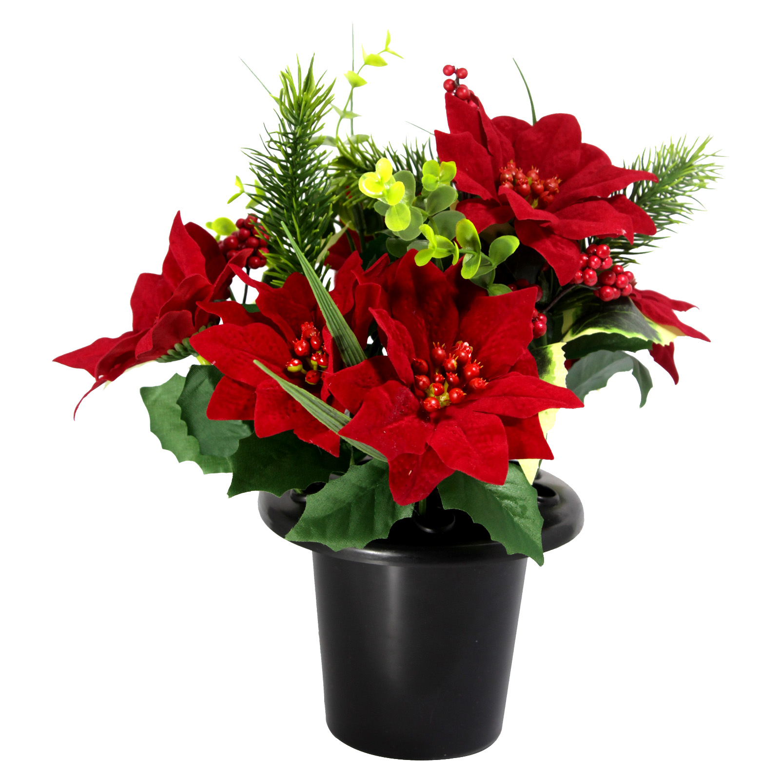 POINSETTIA-HOLLY-PINE CEMETERY POT RED
