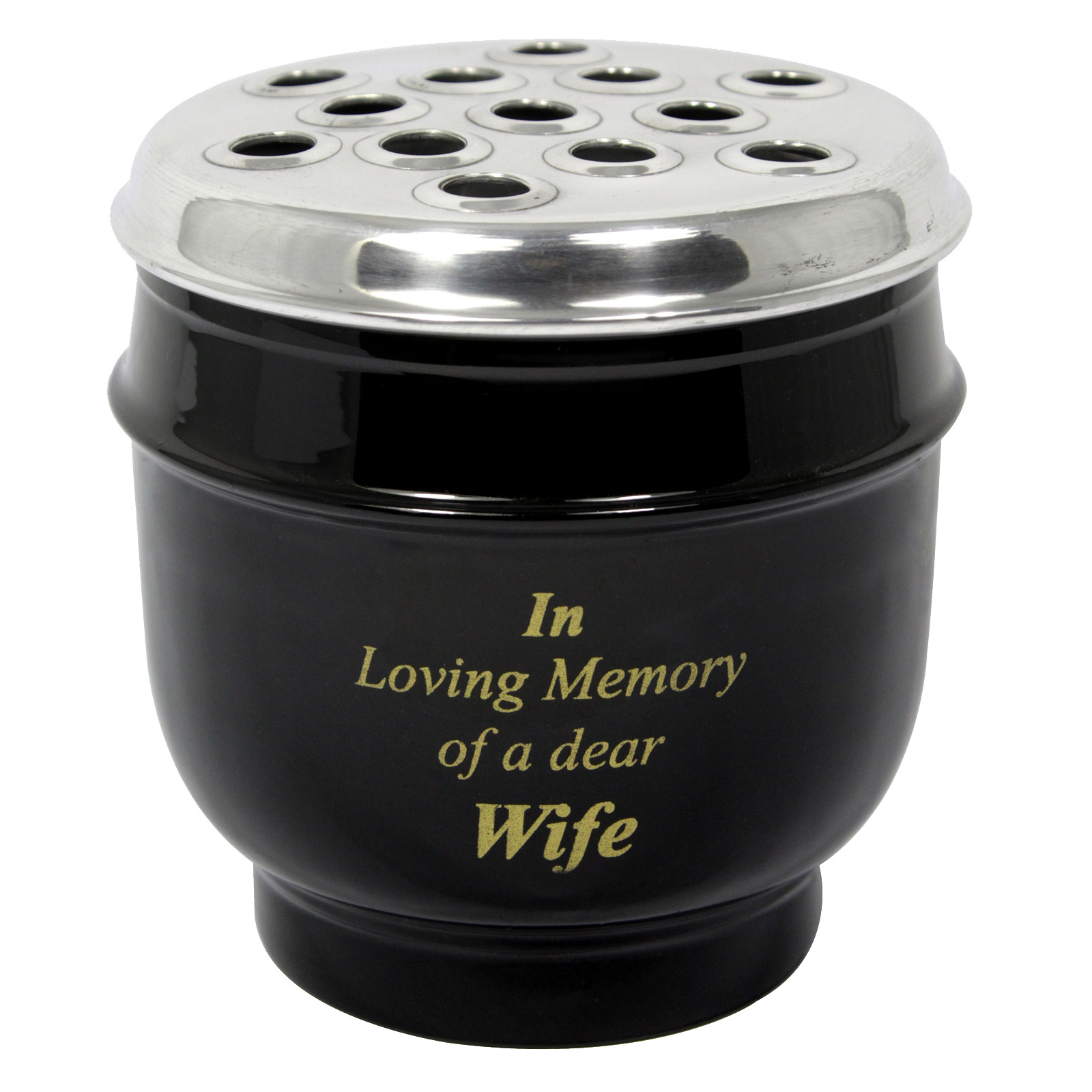METAL GRAVE VASE BLACK WITH SILVER LID IN LOVING MEMORY OF A DEAR WIFE 14CM