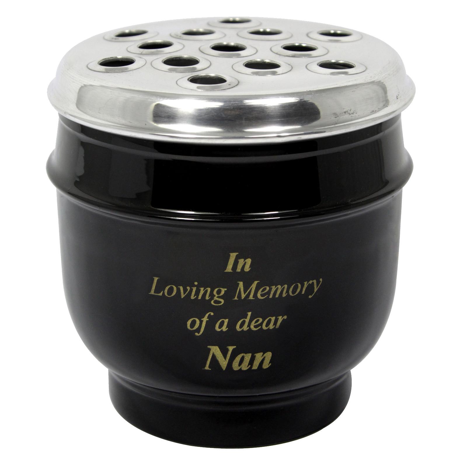 METAL GRAVE VASE BLACK WITH SILVER LID IN LOVING MEMORY OF A DEAR NAN 14CM