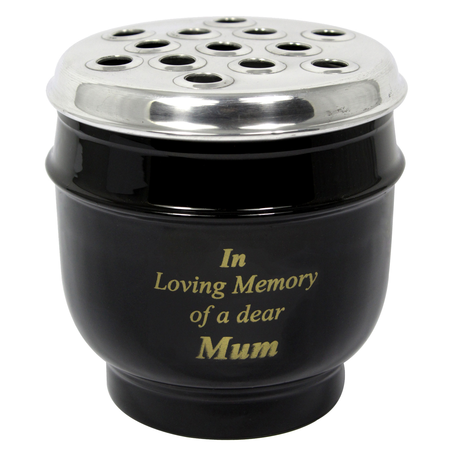 METAL GRAVE VASE BLACK WITH SILVER LID IN LOVING MEMORY OF A DEAR MUM 14CM