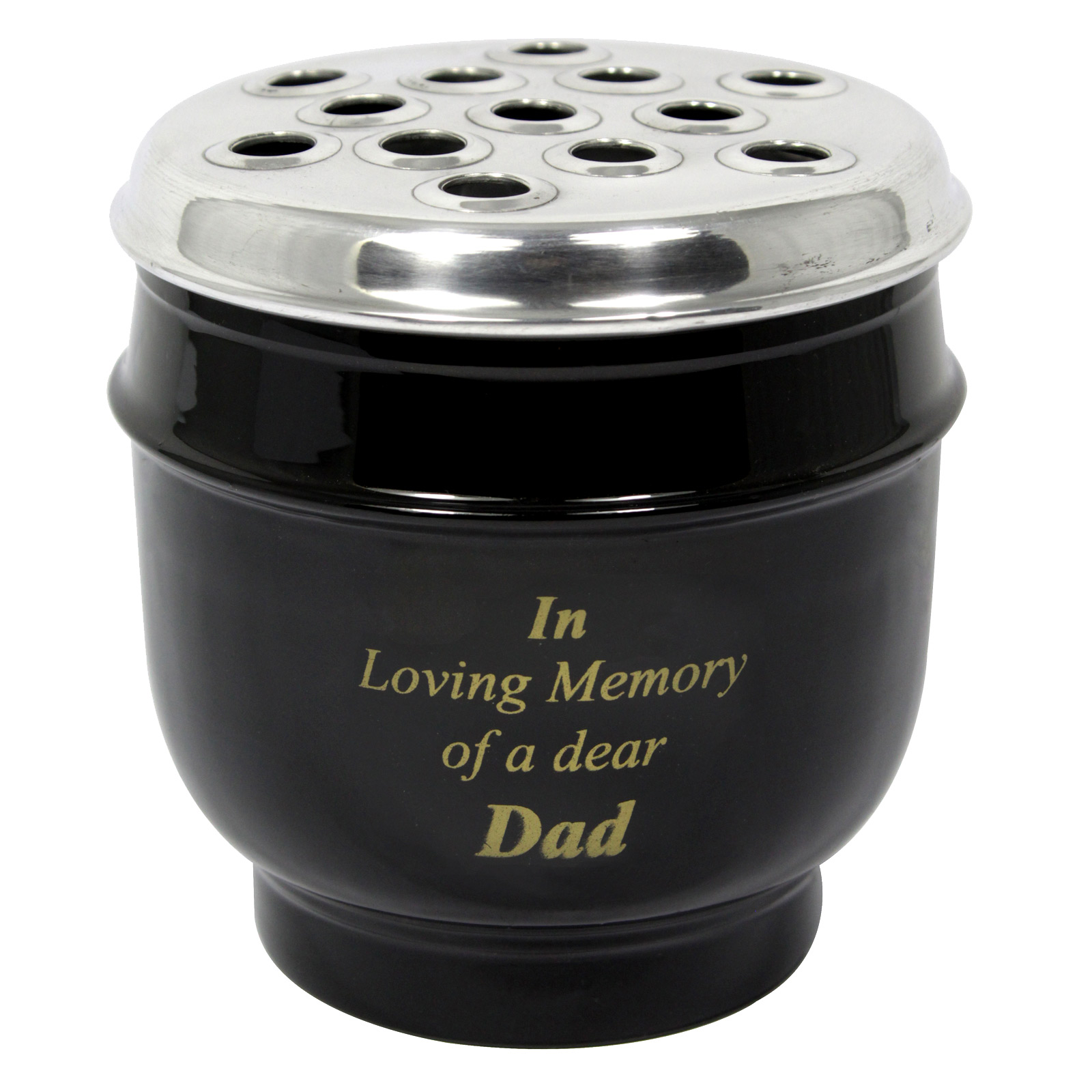 METAL GRAVE VASE BLACK WITH SILVER LID IN LOVING MEMORY OF A DEAR DAD EACH