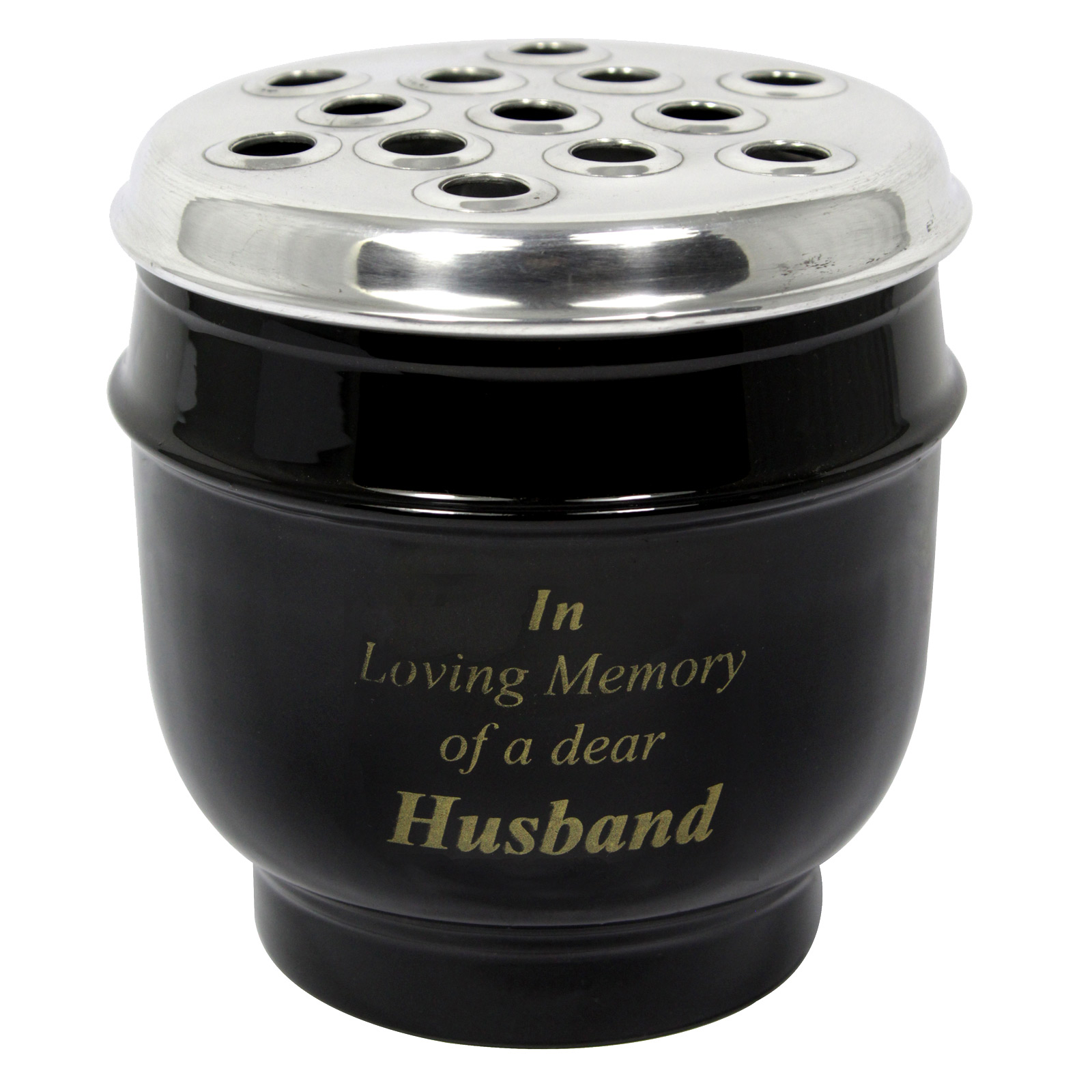 METAL GRAVE VASE BLACK WITH SILVER LID IN LOVING MEMORY OF A DEAR HUSBAND 14CM