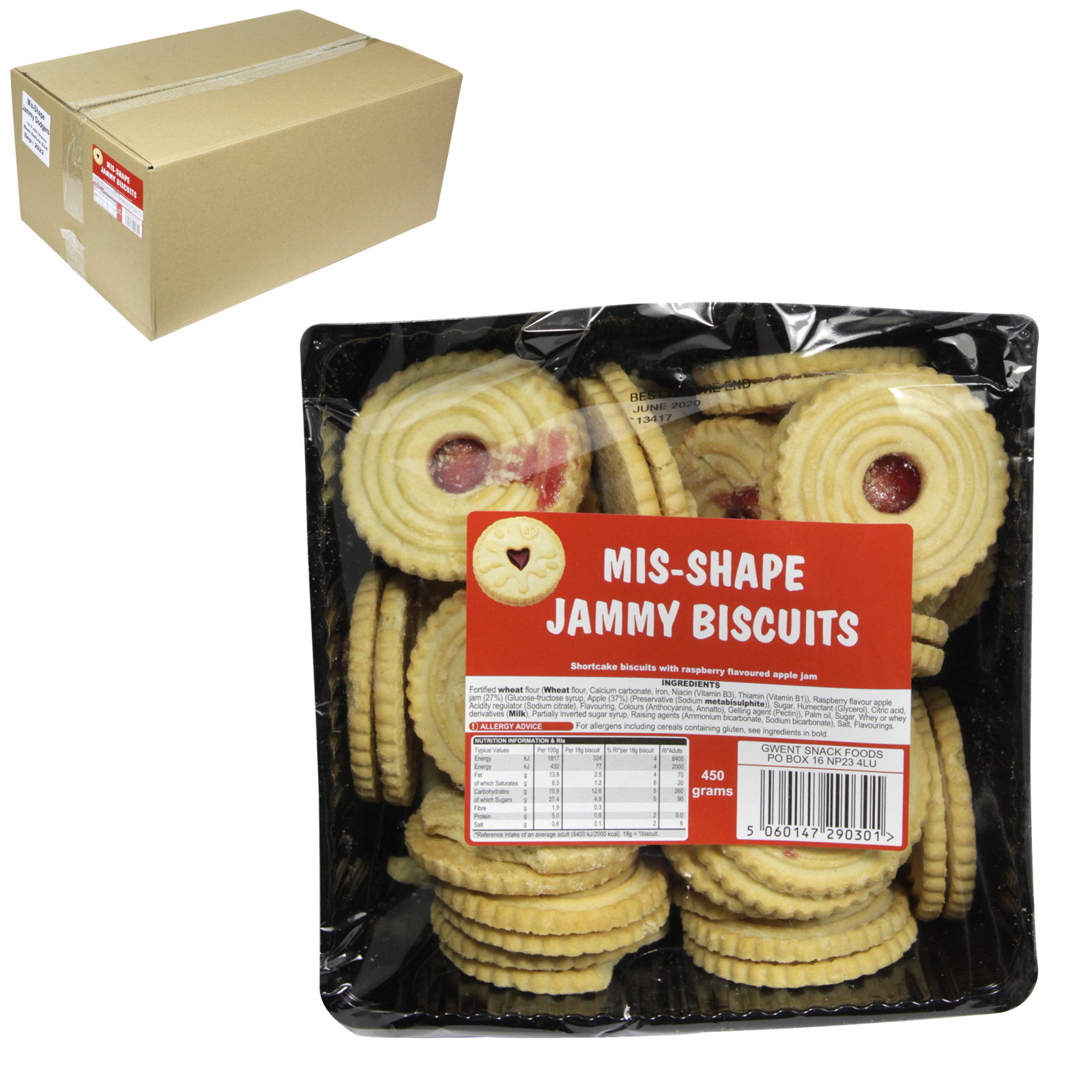 MISS-SHAPES JAMMIE DODGERS 450GM