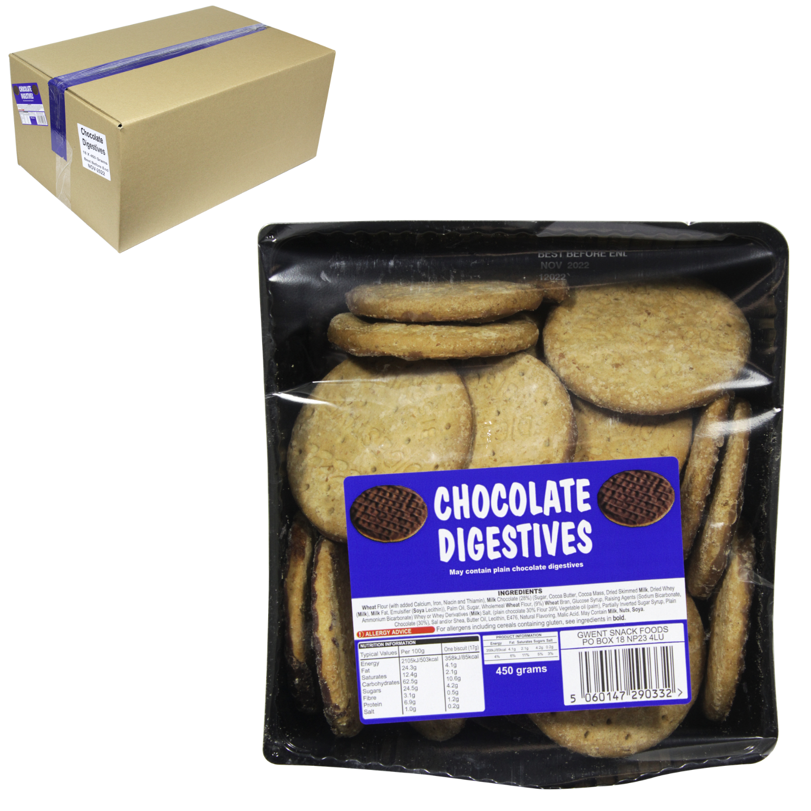 CHOCOLATE & PLAIN DIGESTIVES 450GM