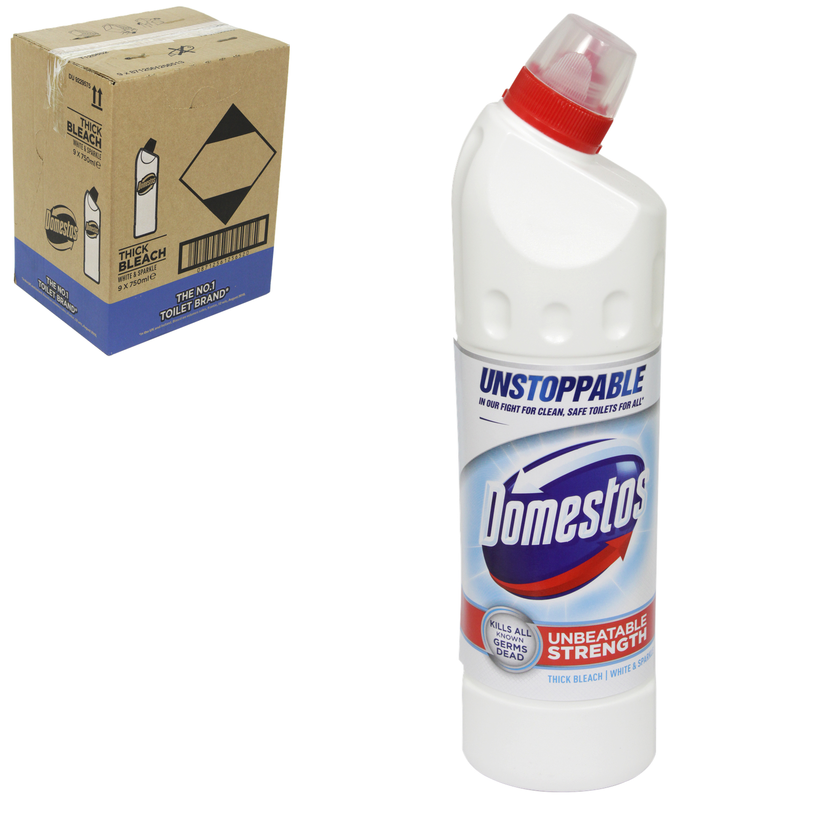 DOMESTOS EXT GERM-KILL THICK BLEACH 750ML ULTRA WHITE & SPARKLE X9