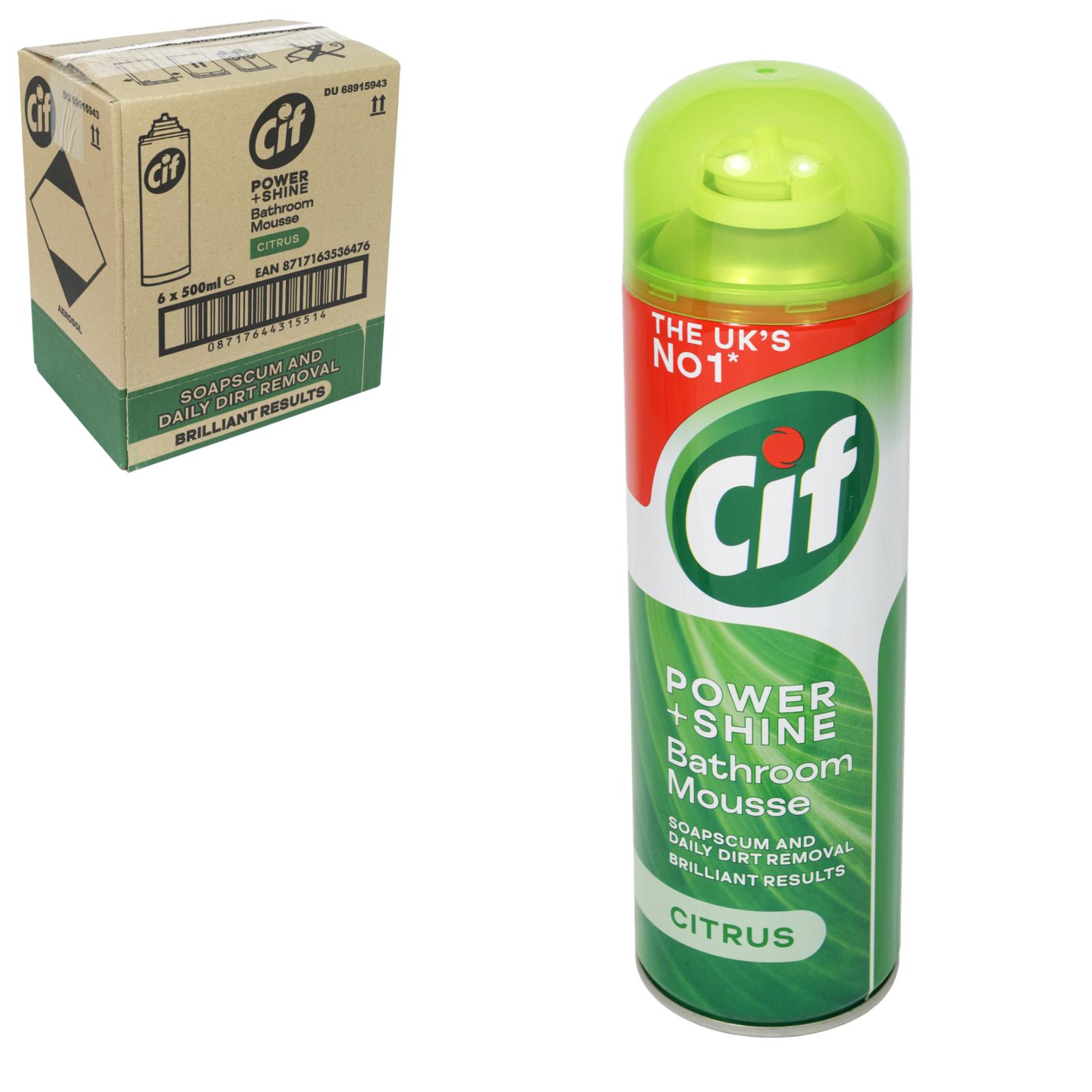 CIF POWER+SHINE BATHROOM MOUSSE 500ML CITRUS X6