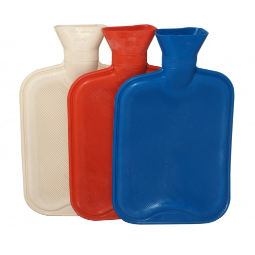 HOT WATER BOTTLES 2L RED/BLUE/GREEN X36