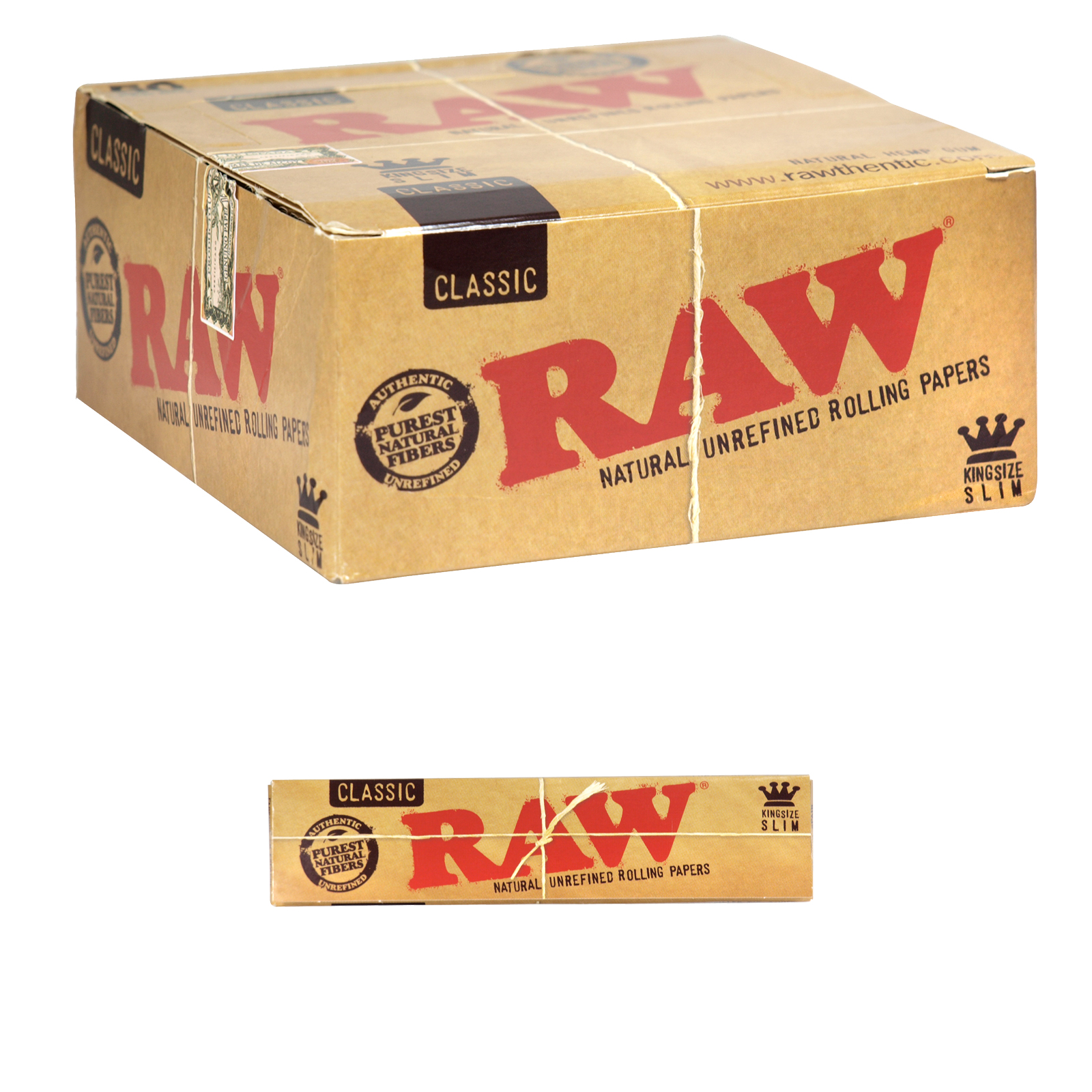 RAW CIGARETTE PAPERS CLASSIC KINGSIZE SLIM 32 LEAVES X50
