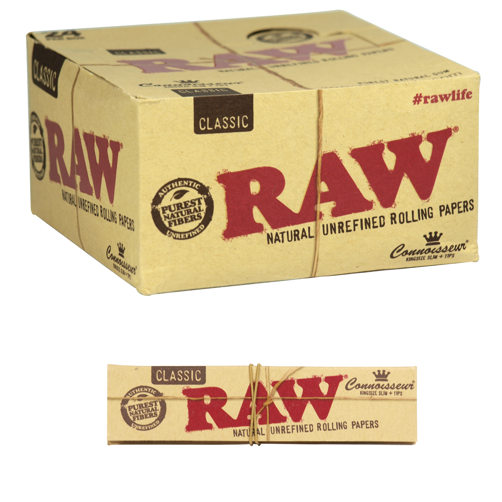 RAW CONNOISSEUR CLASSIC KINGSIZE SLIM 32 LEAVES+40 TIPS X24
