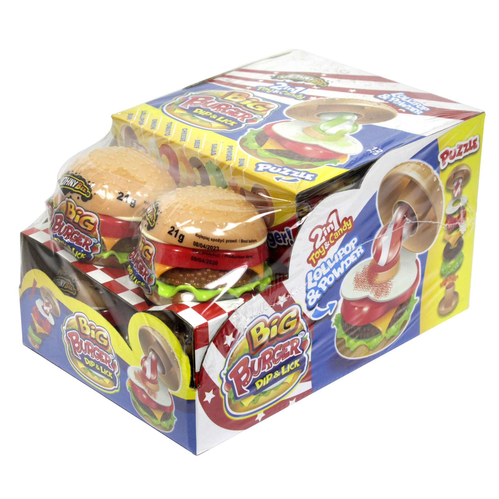 JOHNY BEE BIG BURGER DIP & LICK LOLLIPOP & POWDER 2 IN1 TOY AND CANDY X 12