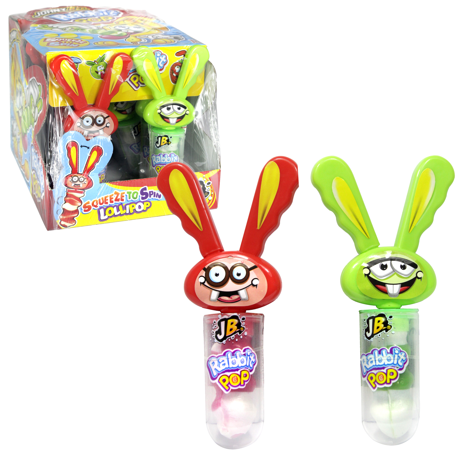JOHNY BEE RABBIT SQUEEZE TO SPIN LOLLIPOP X12PCS