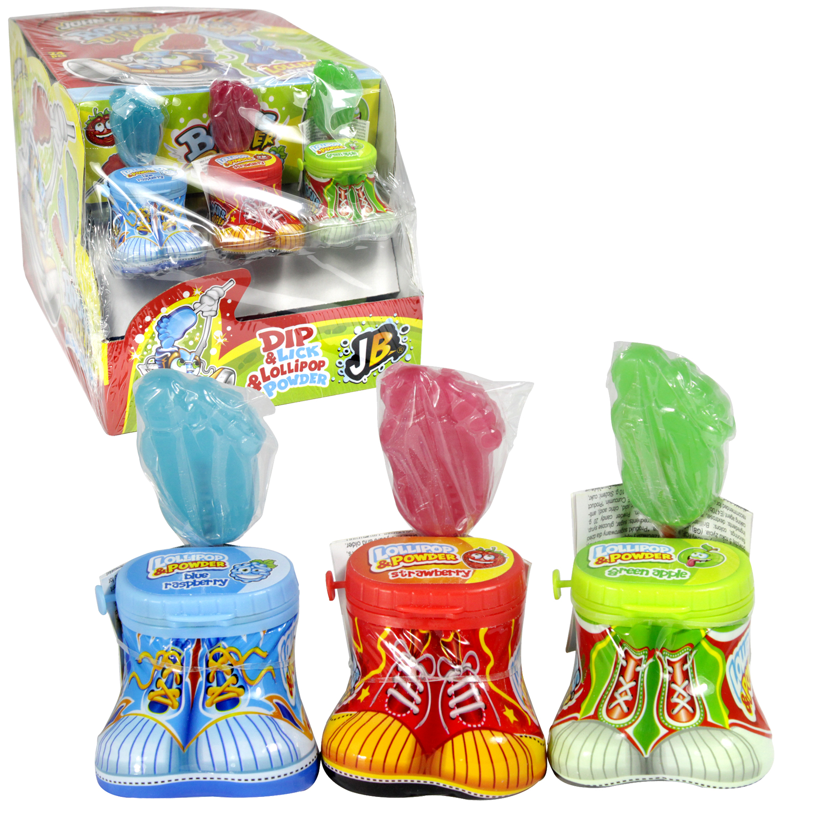 JOHNY BEE BOOTS DIPPER LOLLIPOP & POWDER DIP & LICK X24PCS