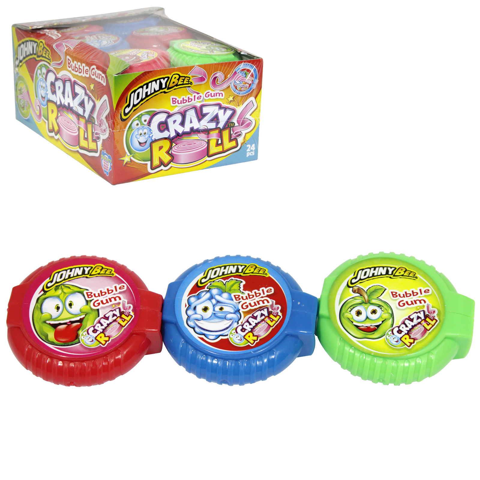 JOHNY BEE CRAZY ROLL BUBBLE GUM ASSORTED X24