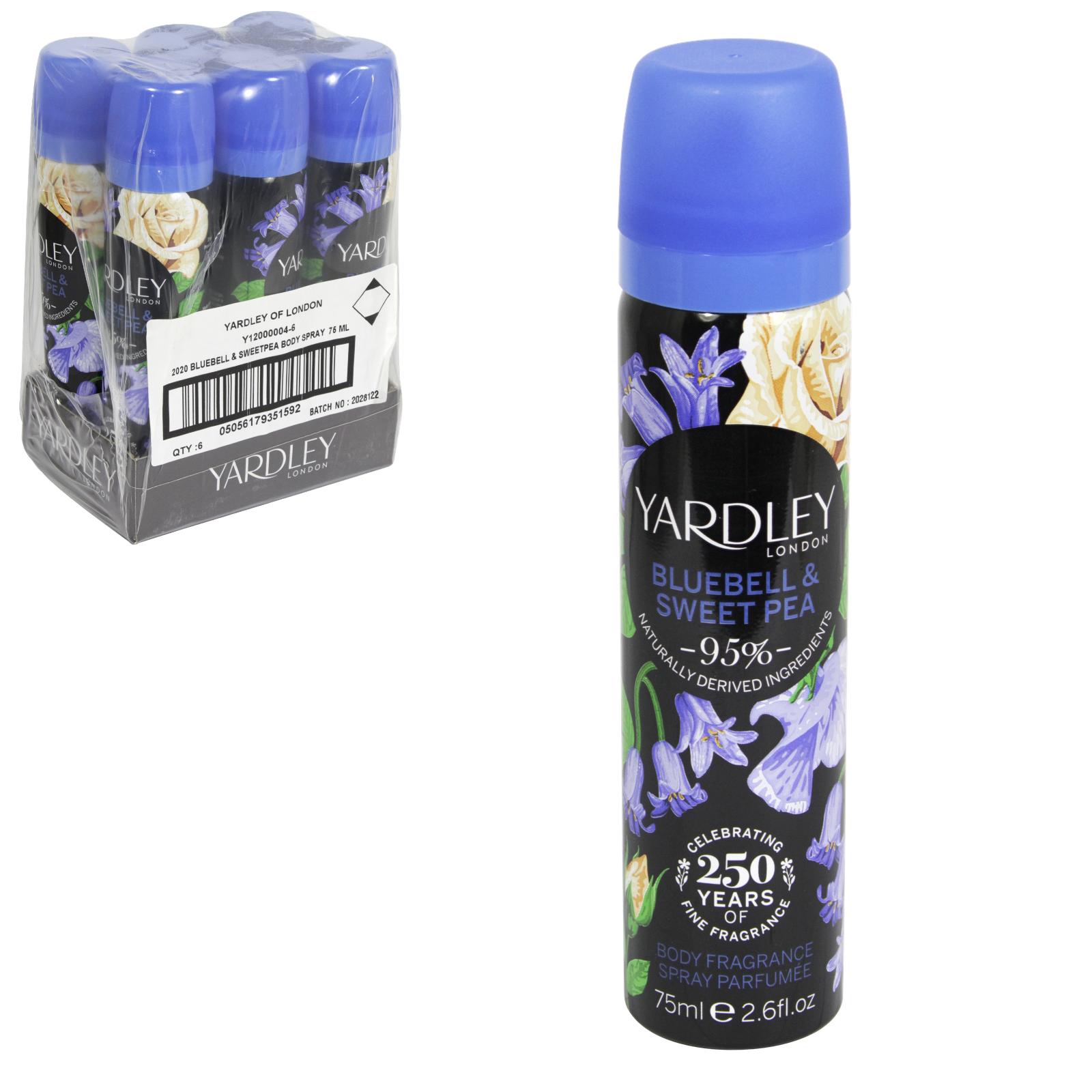 YARDLEY DEO BODYSPRAY 75ML ENGLISH BLUEBELL X6