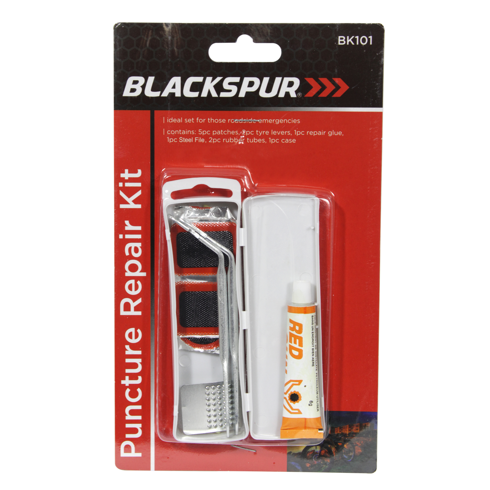 BLACKSPUR BICYCLE REPAIR KIT+SPANNER