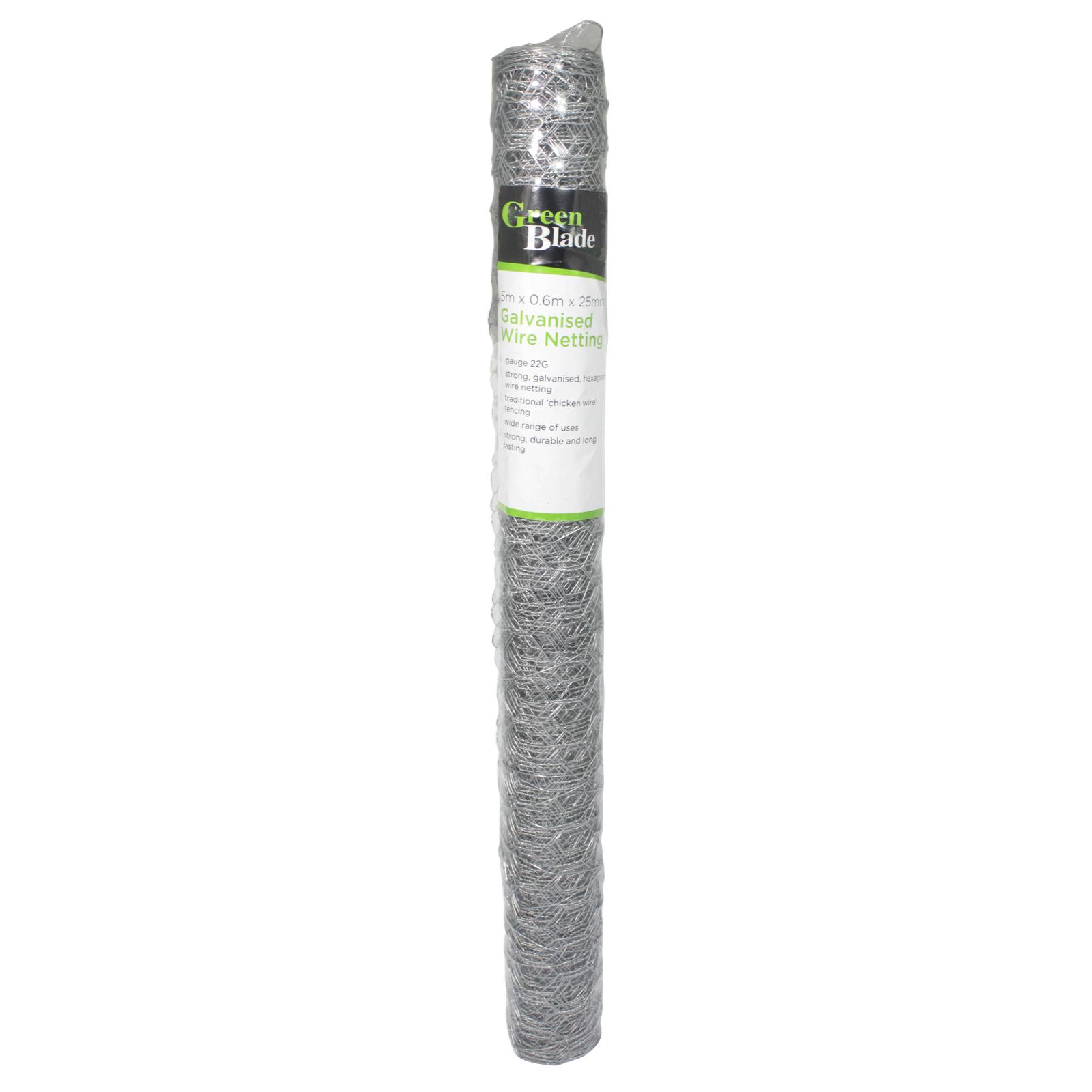 GREEN BLADE GALVANISED WIRE NETTING 5MX0.6MX25MM