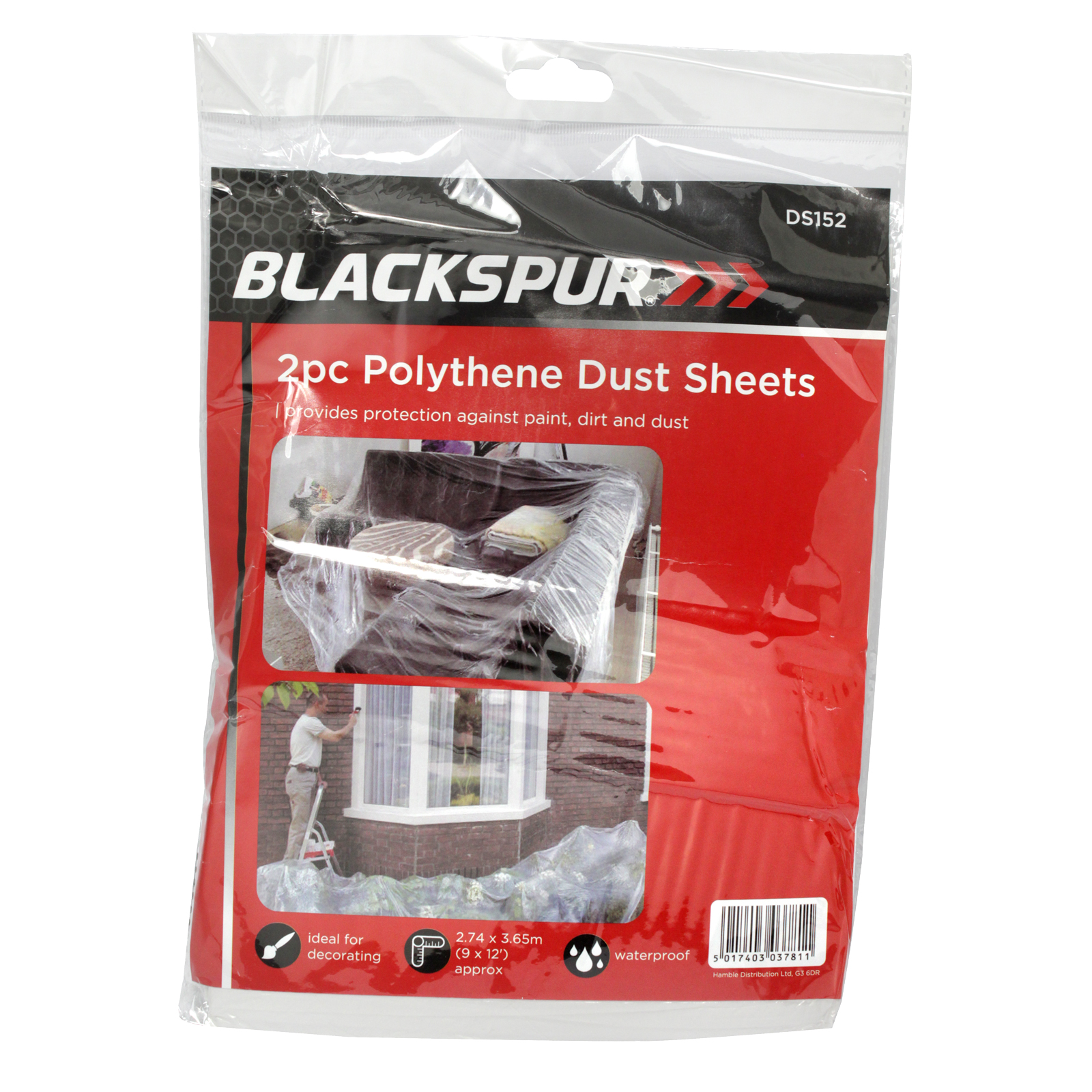 BLACKSPUR HEAVY DUTY POLY DUST SHEET 2 PIECE