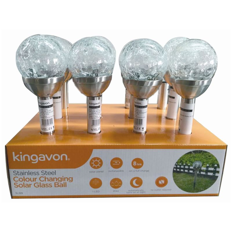 KINGAVON STAINLESS STEEL COLOUR CHANGING SOLAR GLASS BALL 8CM X12