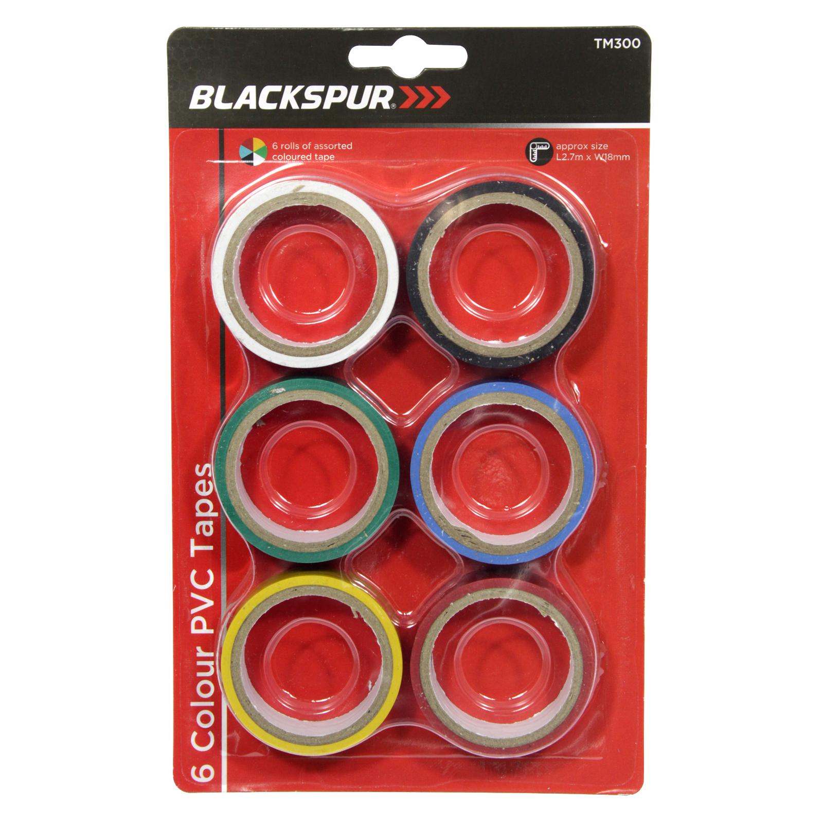 BLACKSPUR 6PK PVC TAPE SET ASSORTED COLOURS