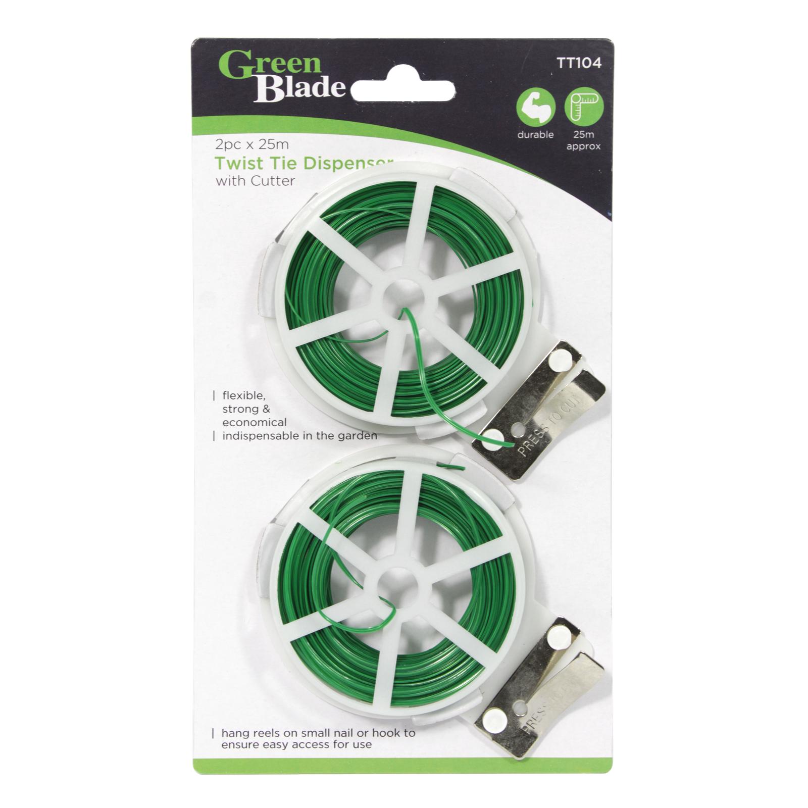 GREEN BLADE 2X25M TWIST+TIE PACK