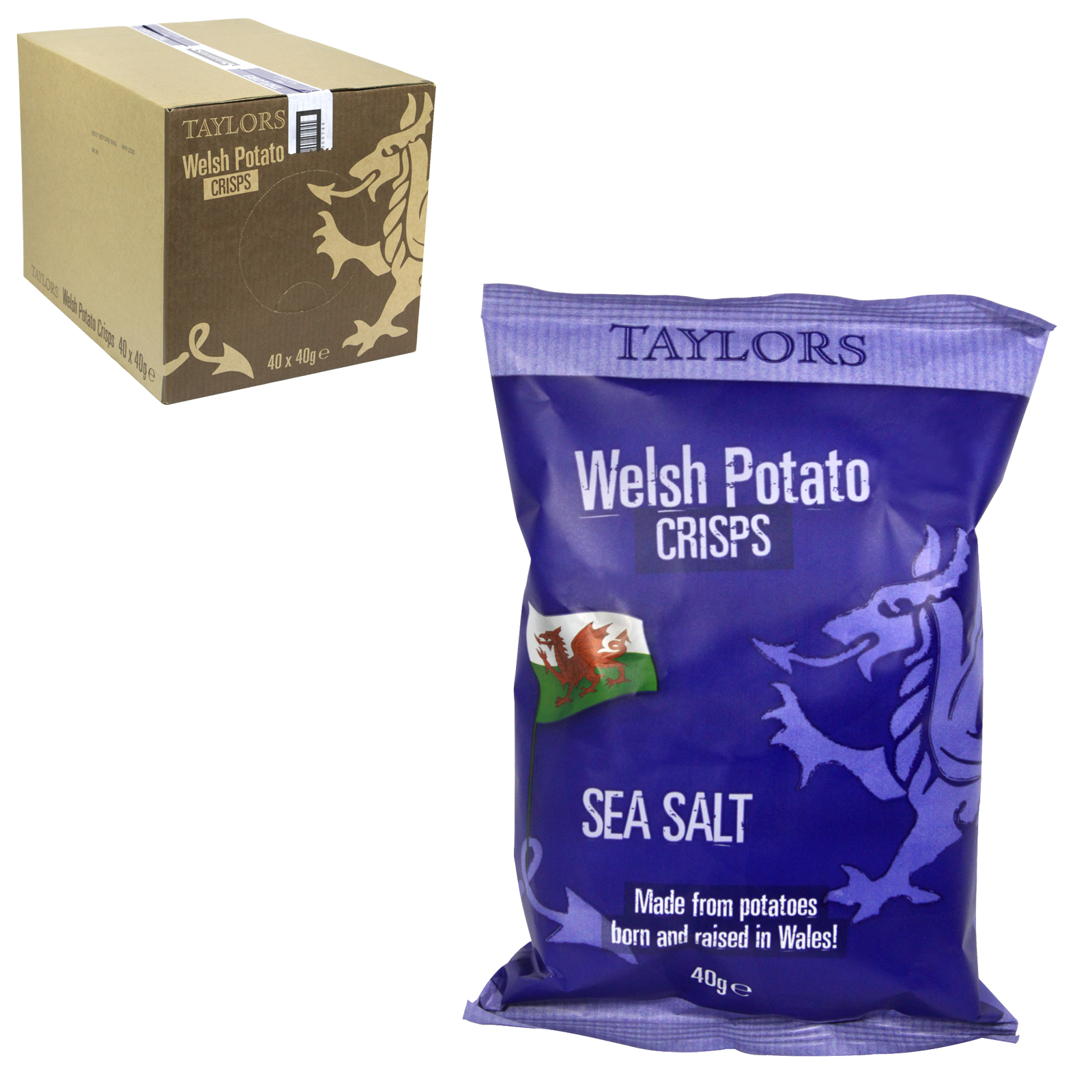 TAYLORS WELSH CRISPS SEA SALT 40G X40