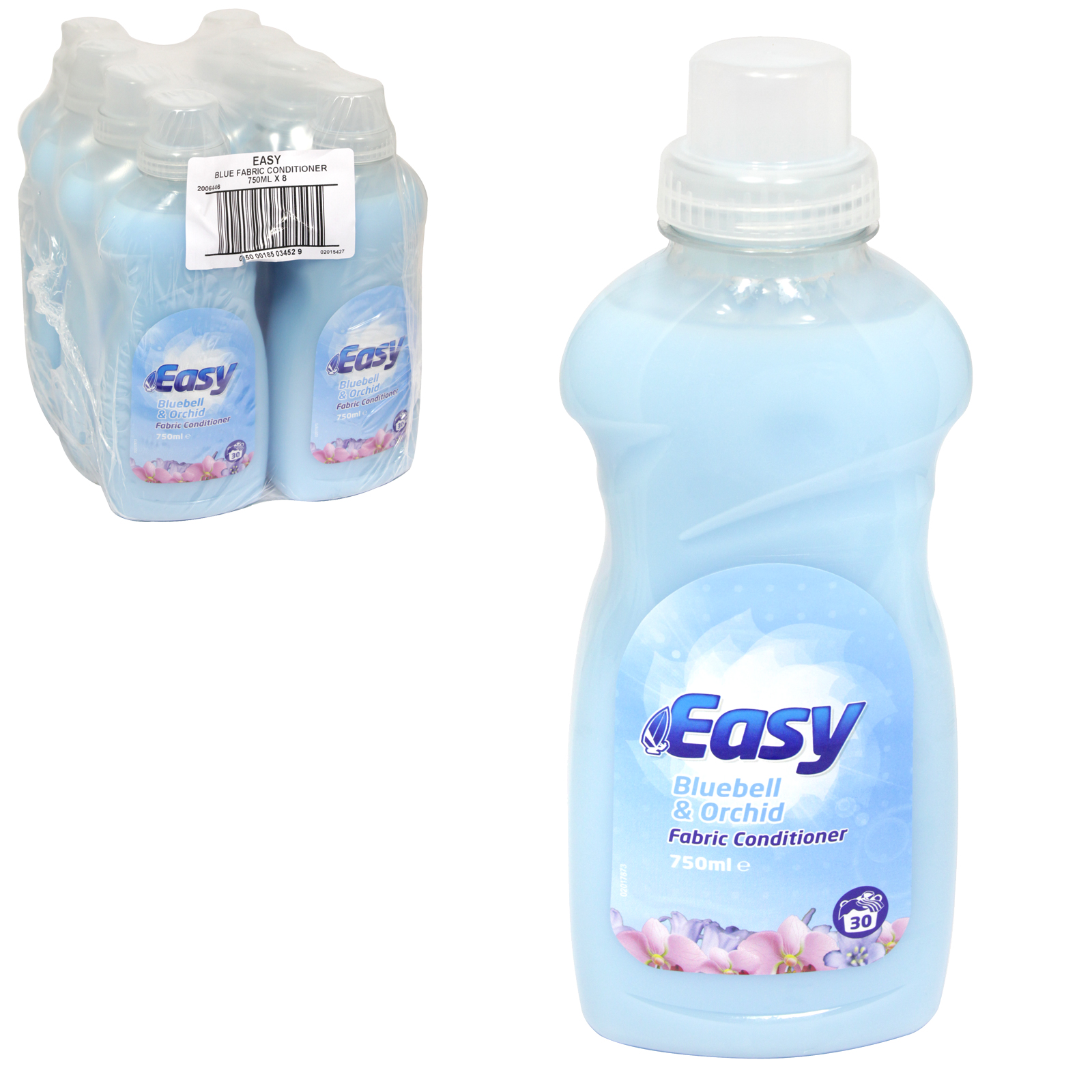 EASY FABRIC CONDITIONER 750ML+33% FOC BLUEBELL+ORCHID X8