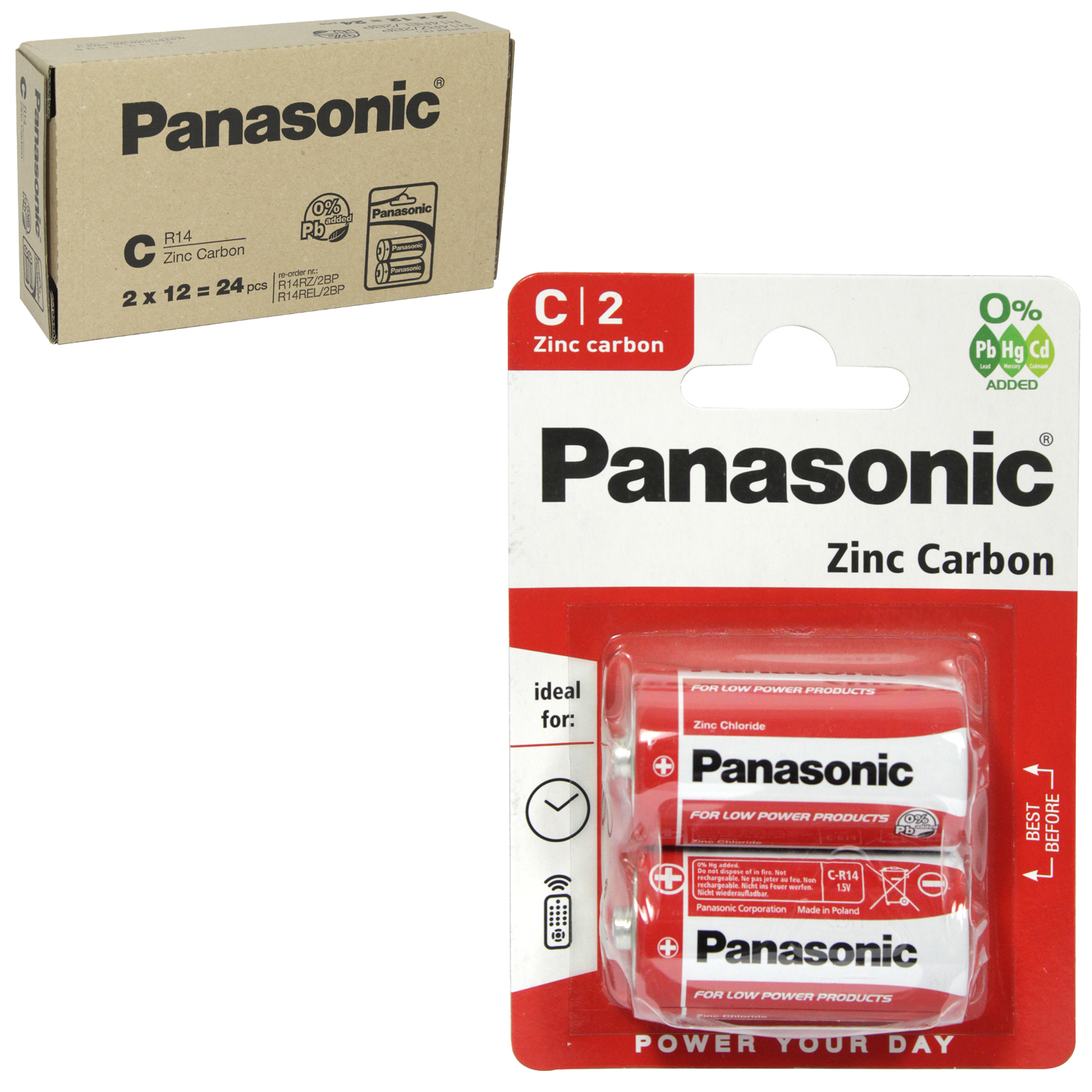 PANASONIC BATTERIES ZINC R14RZ 2PK (C) X12
