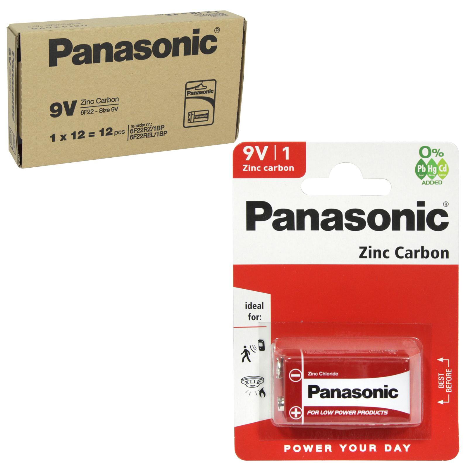 PANASONIC BATTERIES ZINC 6F22RZ 9V-PP3 X12