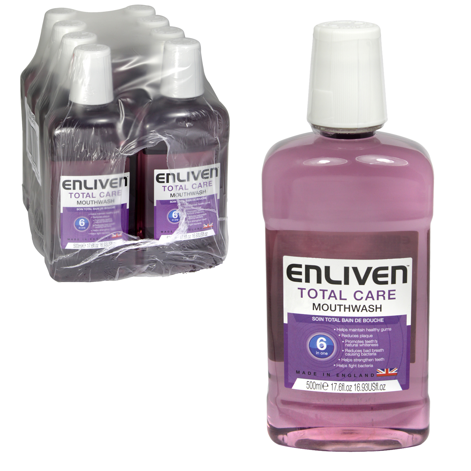 ENLIVEN MOUTHWASH 500ML TOTAL CARE X8