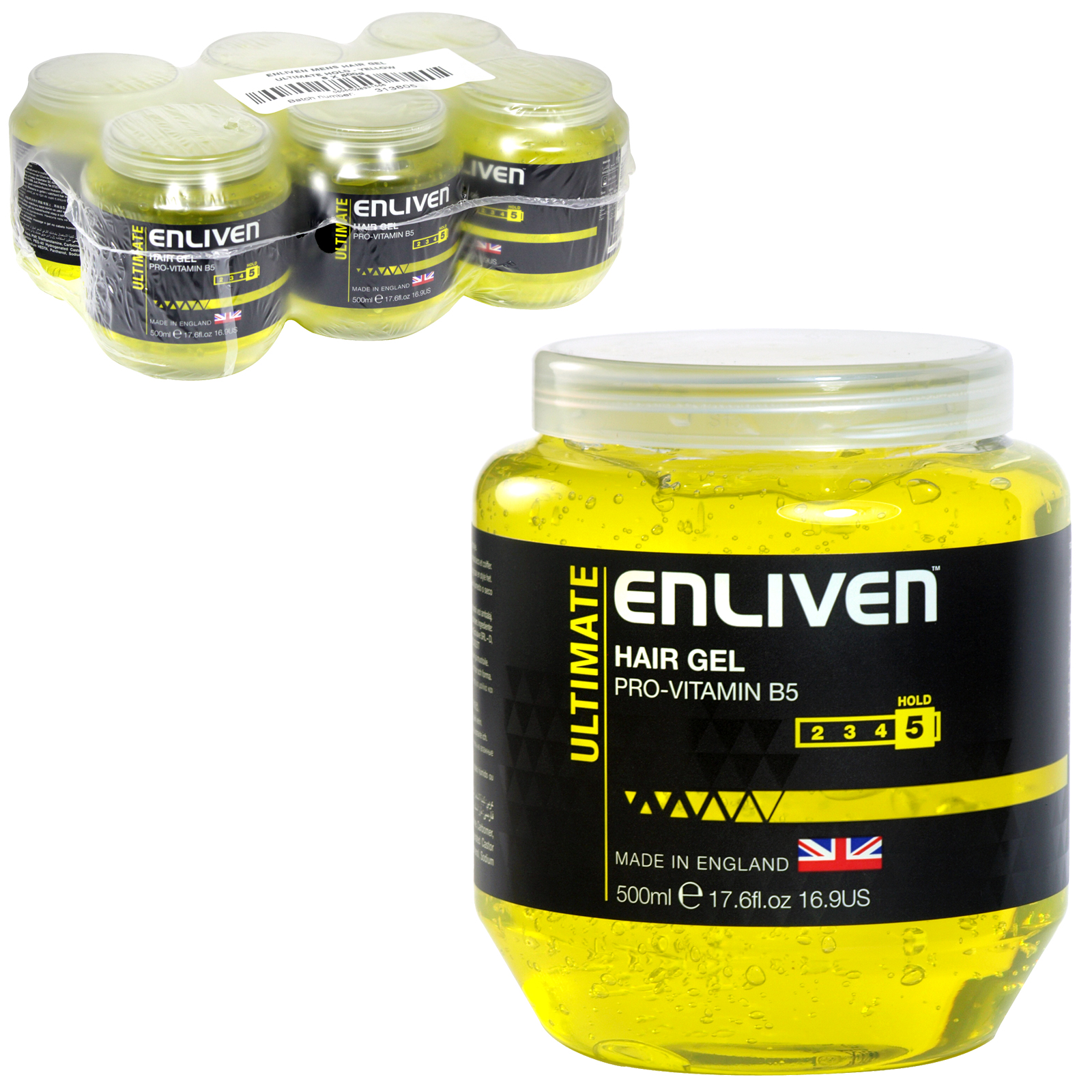 ENLIVEN HAIR GEL 500ML TUB ULTIMATE YELLOW X6