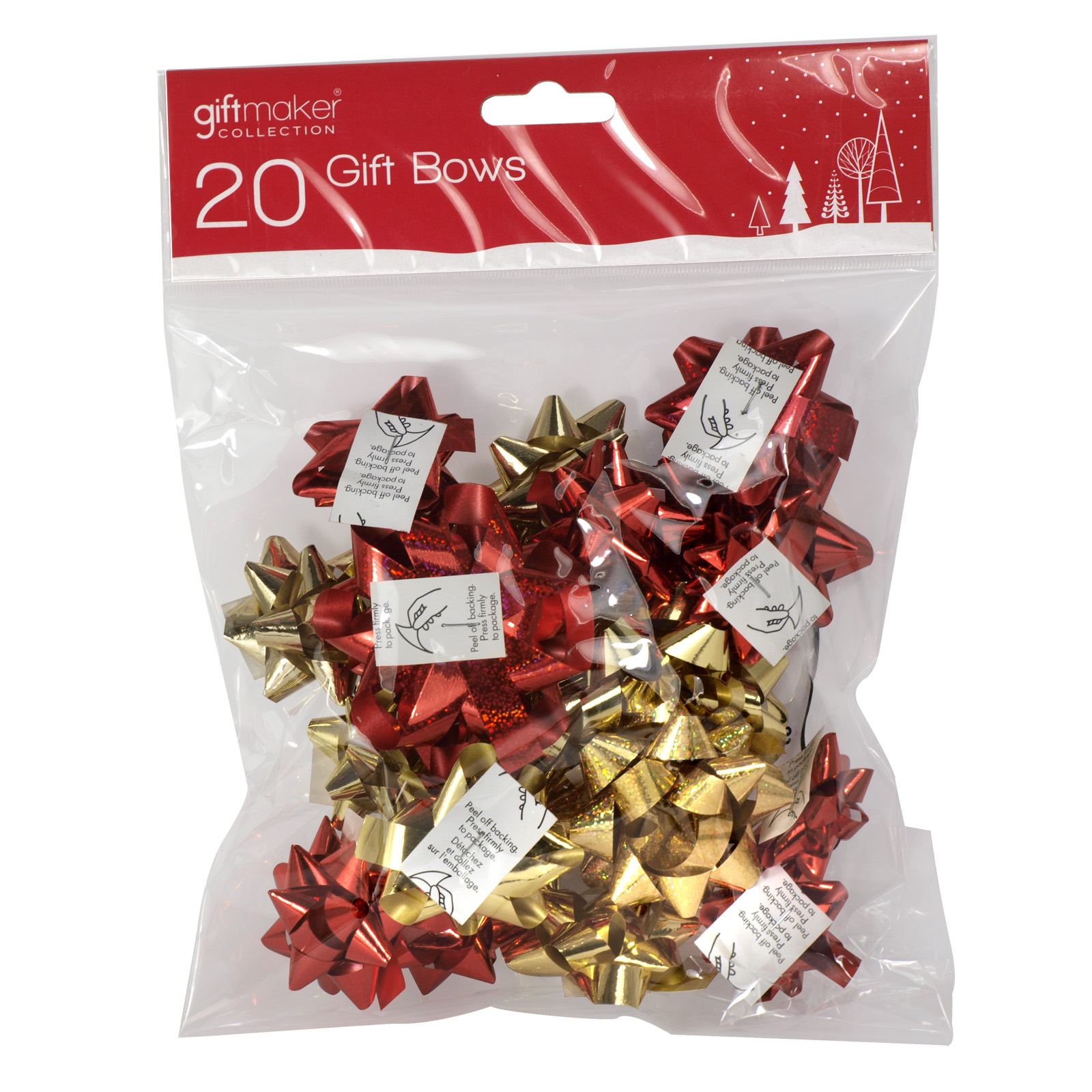 X-MAS GIFT BOWS 20PK MINI TRADITIONAL RED+GOLD