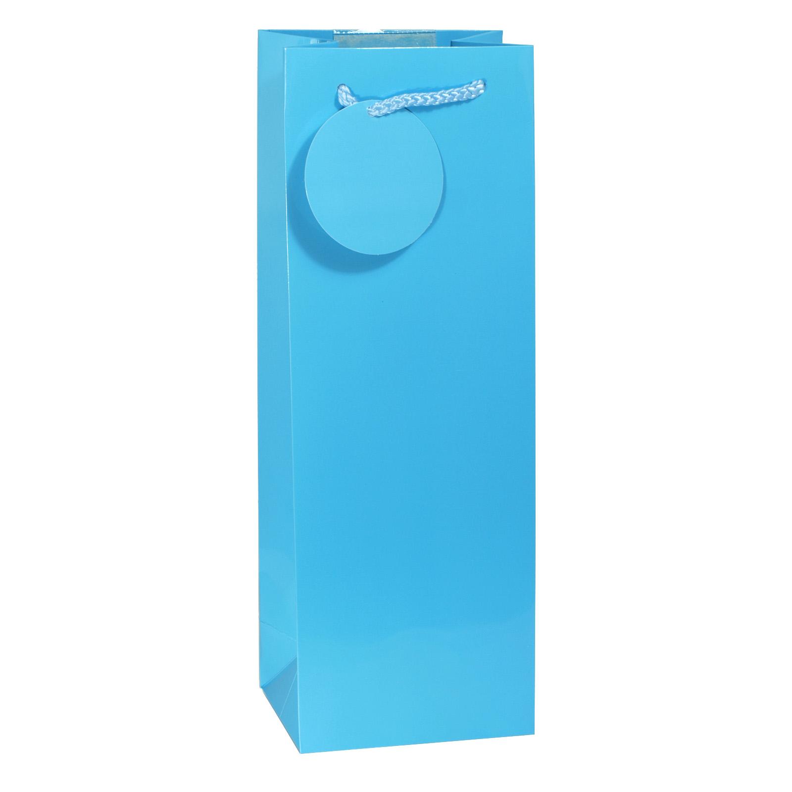 GIFT BAG BOTTLE BRIGHT BLUE GLOSS X6