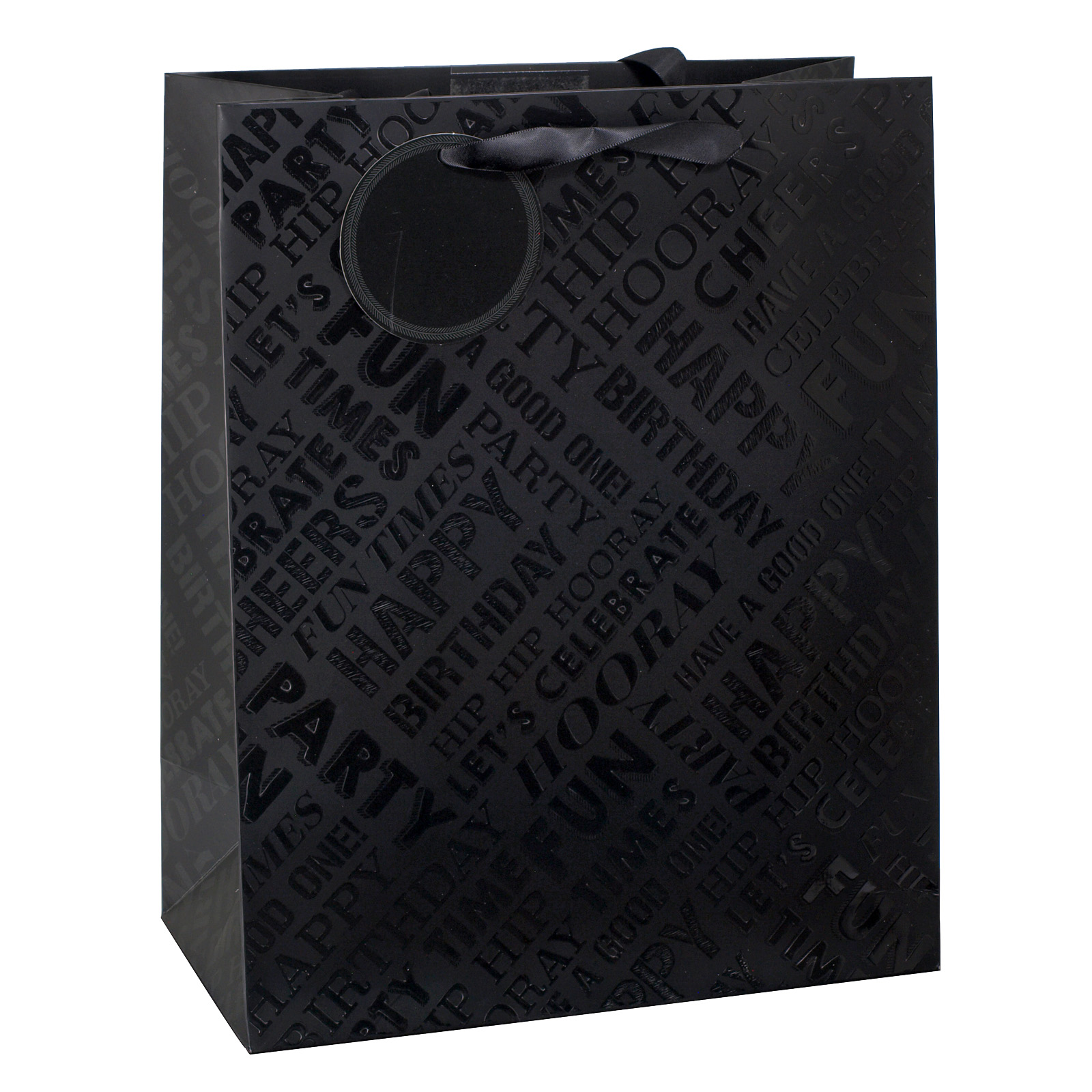 GIFT BAG LARGE BLACK TEXT SPOT UV X6