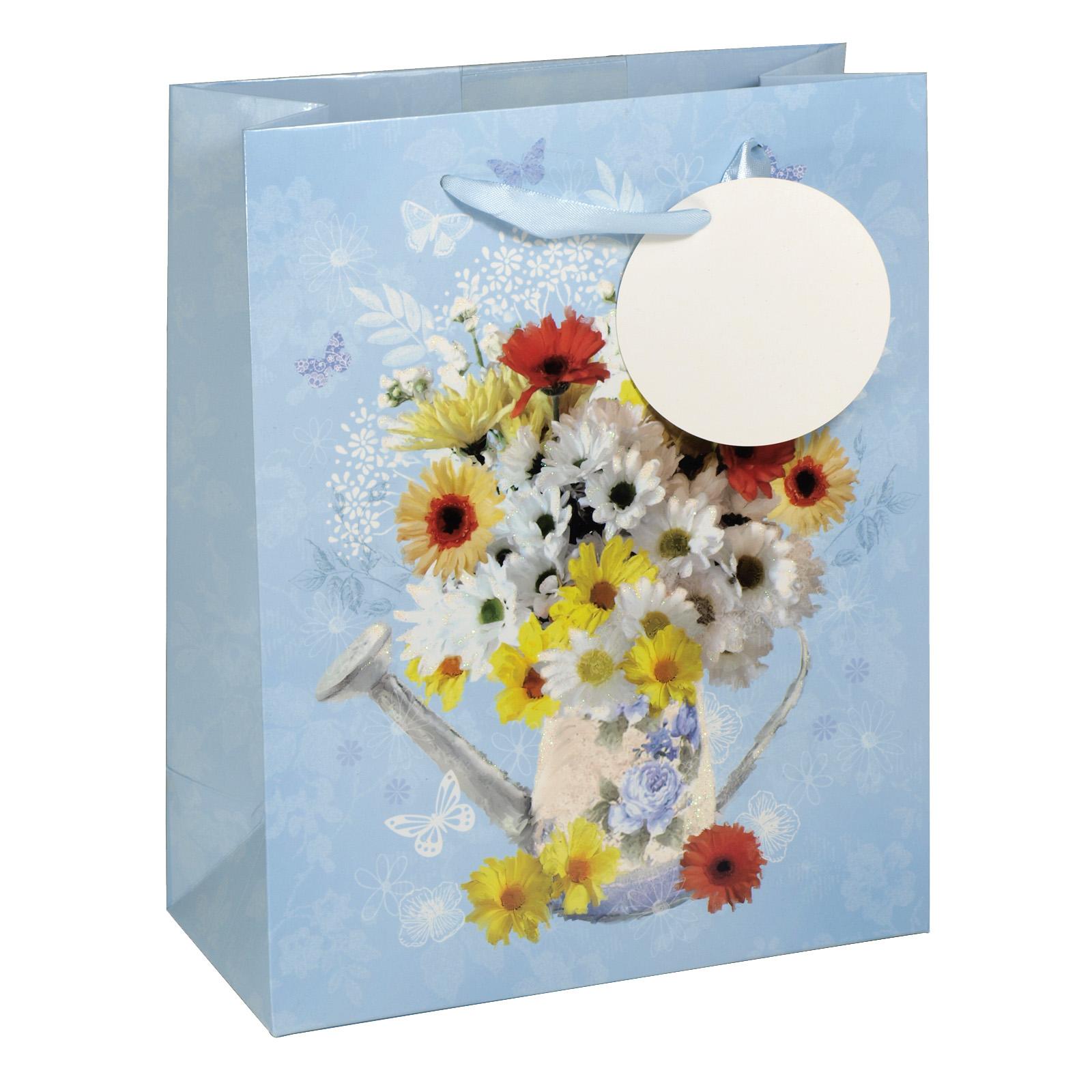GIFT BAG MEDIUM WATERCAN FLOWERS X6