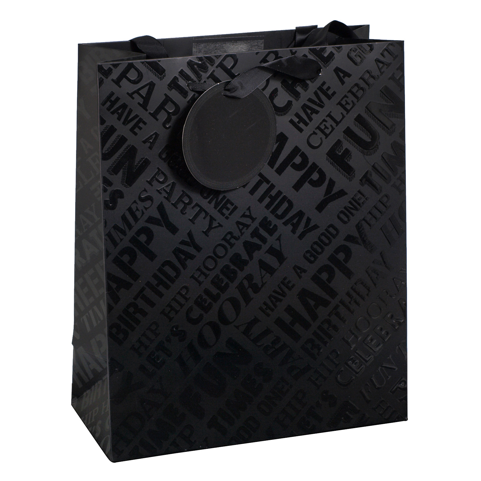 GIFT BAG MEDIUM BLACK TEXT SPOT UV X6