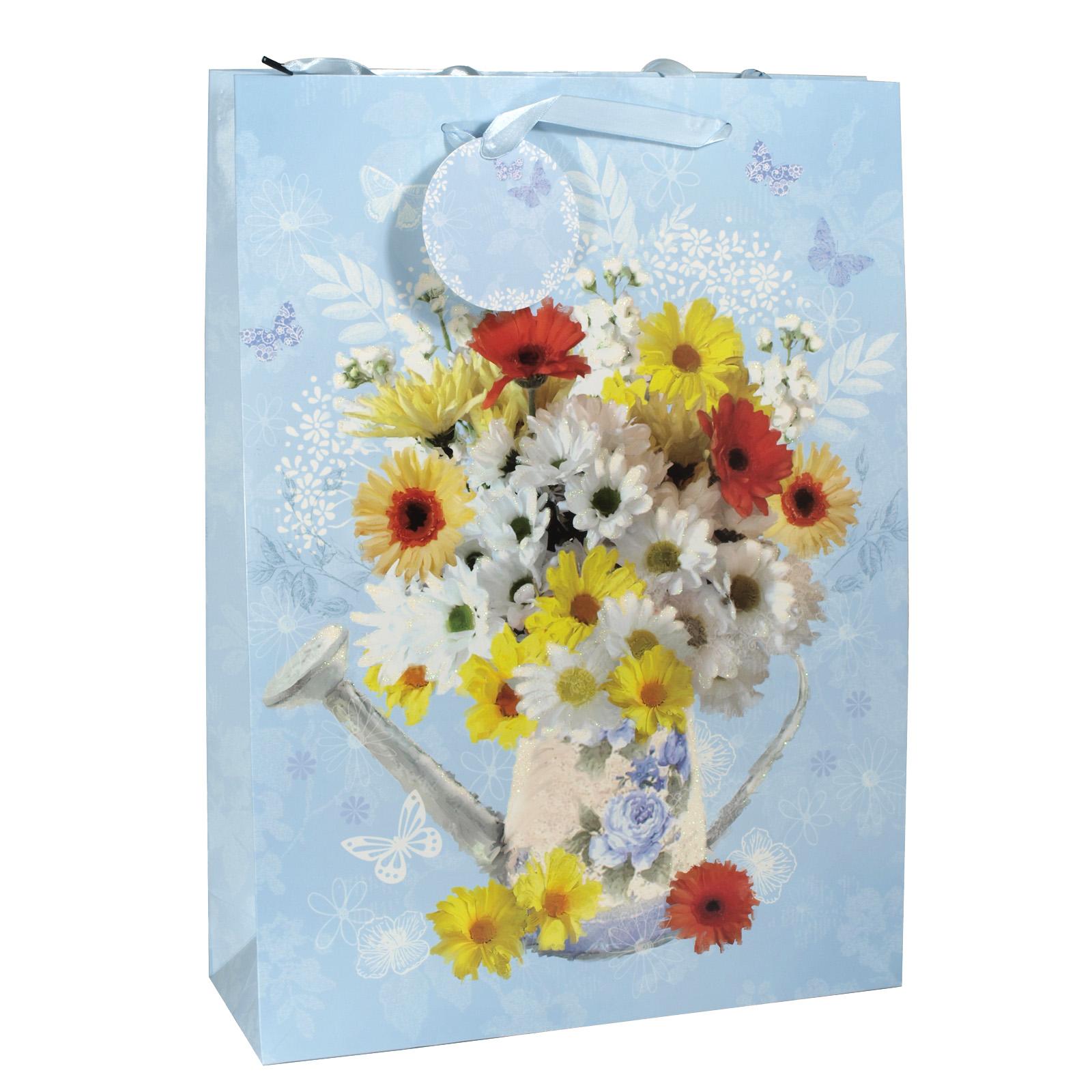 GIFT BAG EX LGE WATERCAN FLOWERS X6