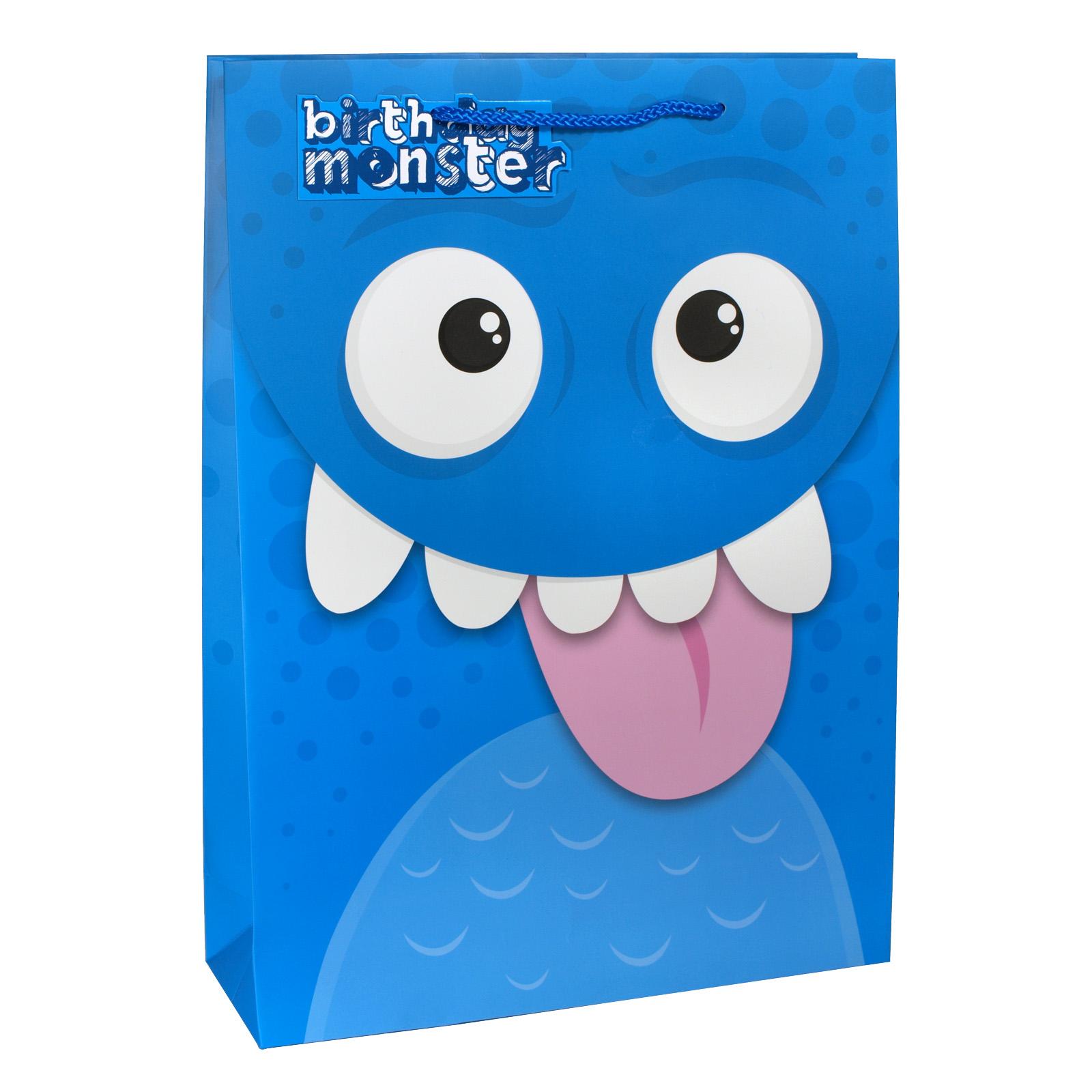 GIFT BAG EX LGE KIDS BLUE MONSTER X6