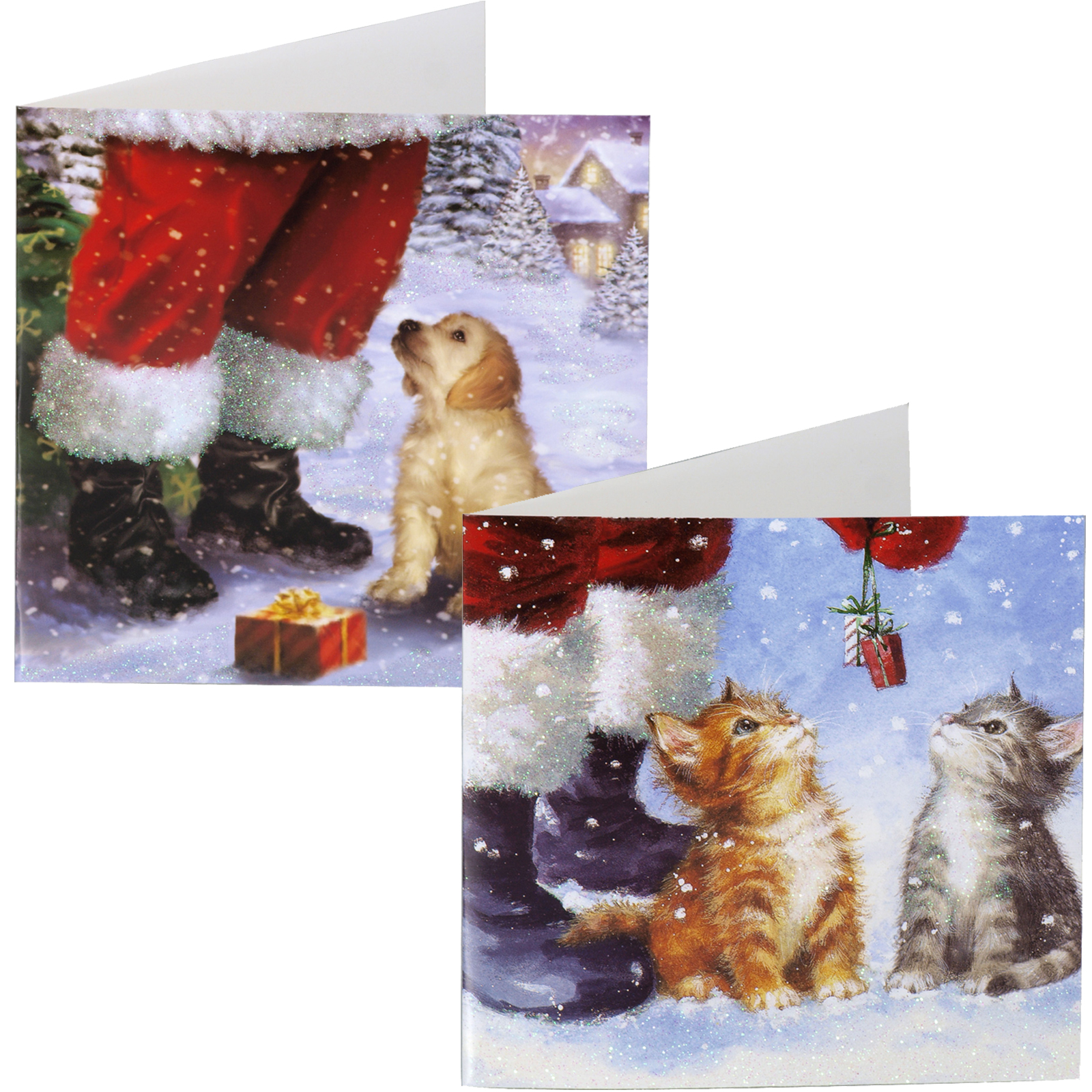 X-MAS CARDS SQUARE 12PK TRADITIONAL PUPPY+KITTENS X24