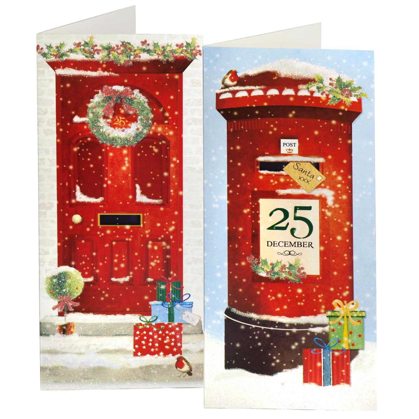 X-MAS CARDS PORTRAIT 12PK DOOR+POSTBOX X24
