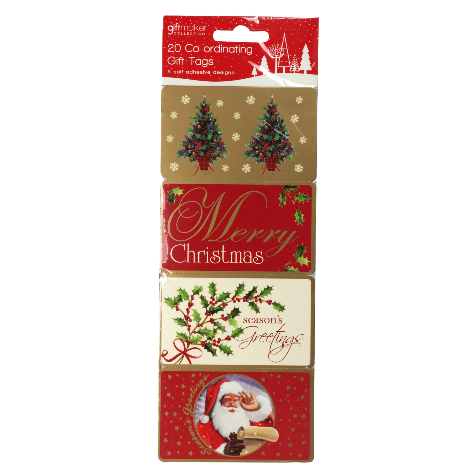 X-MAS GIFT TAGS SELF ADHESIVE 20 ELEGANT TRADITIONS X25