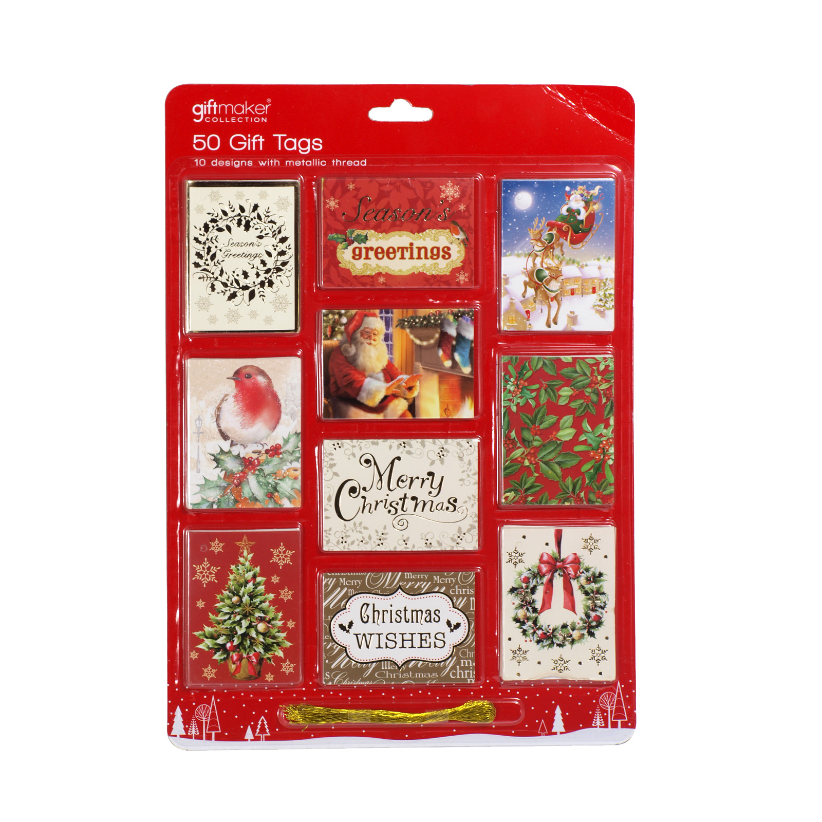 X-MAS GIFT TAGS 50S FOILED ON CARD