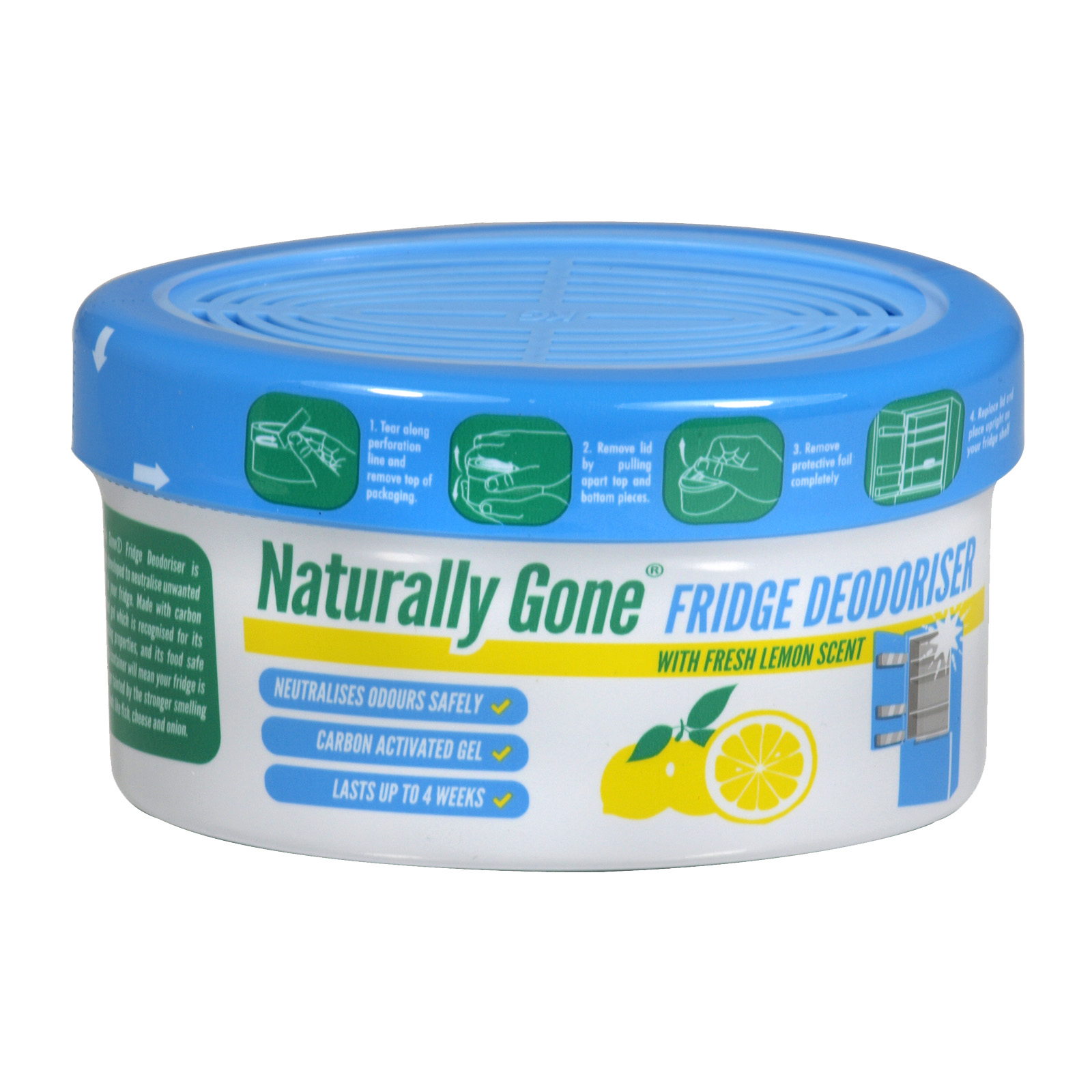 AIRPURE NATURALLY GONE FRIDGE DEODORISER 150GM LEMON FRESH X12