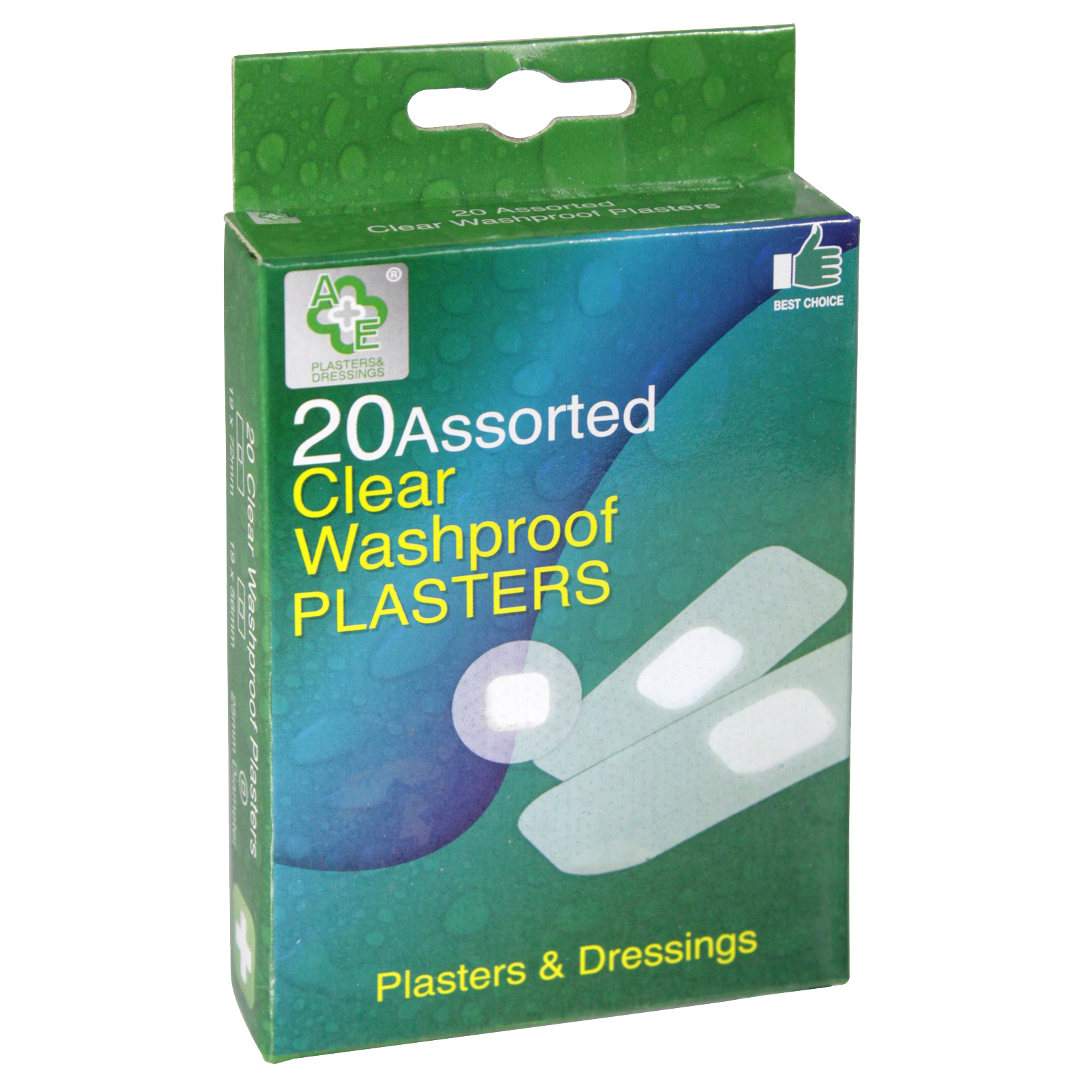 A+E PLASTERS 20S ASS WASHPROOF CLEAR X24