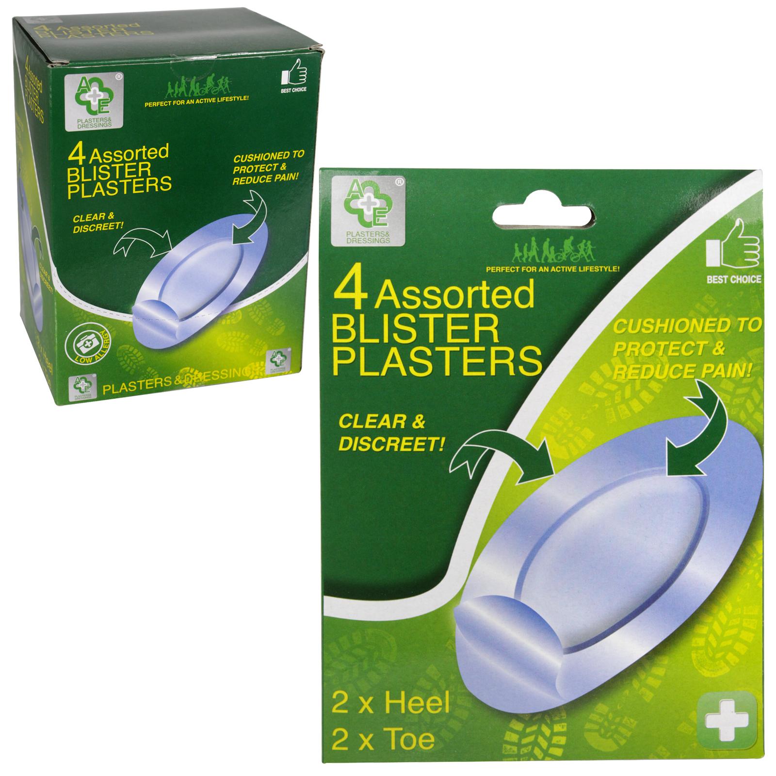 A+E 4 ASS BLISTER PLASTERS 2XHEEL 2XTOE X12
