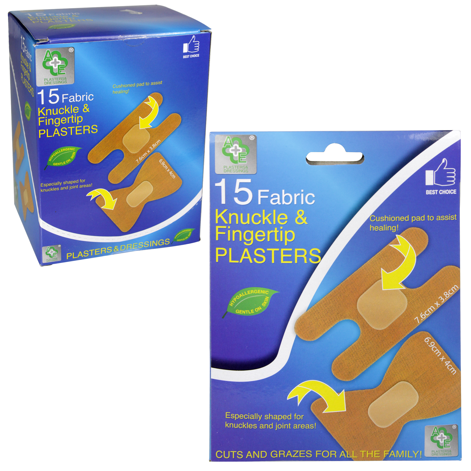 A+E 15 FABRIC KNUCKLE+FINGERTIP PLASTERS X12