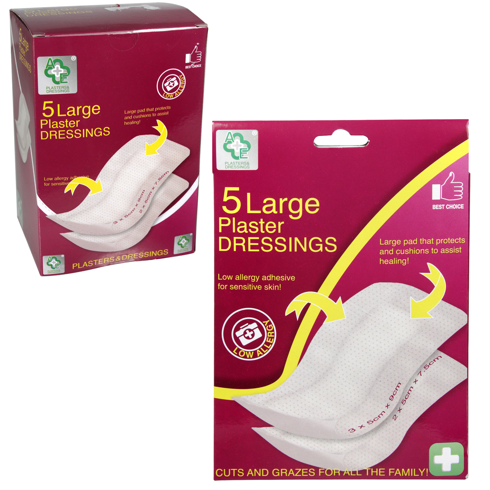 A+E 5 LARGE PLASTER DRESSINGS X12