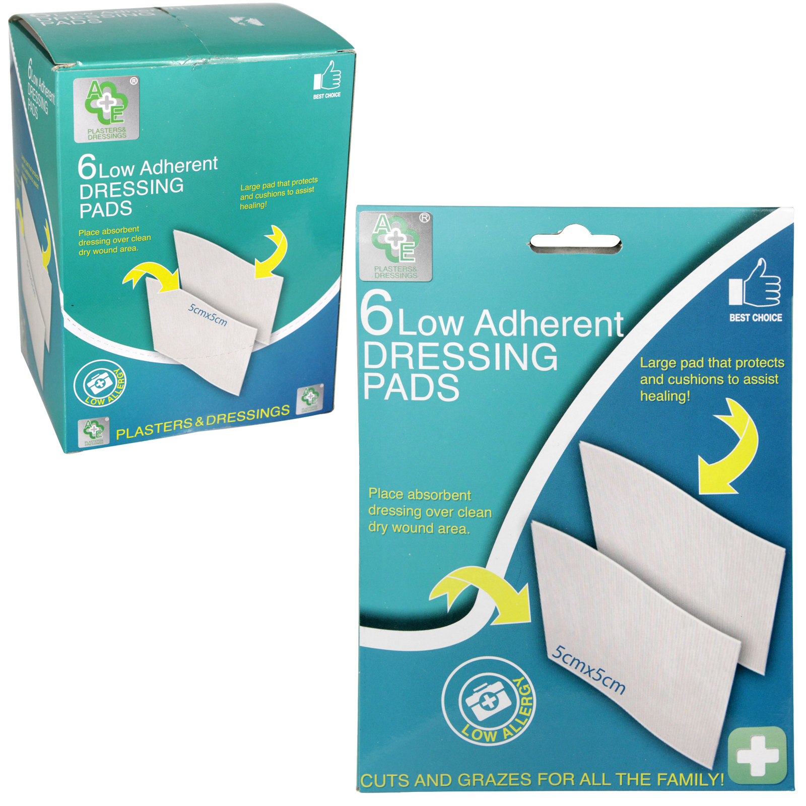A+E 6 LOW ADHERENT DRESSING PADS X12