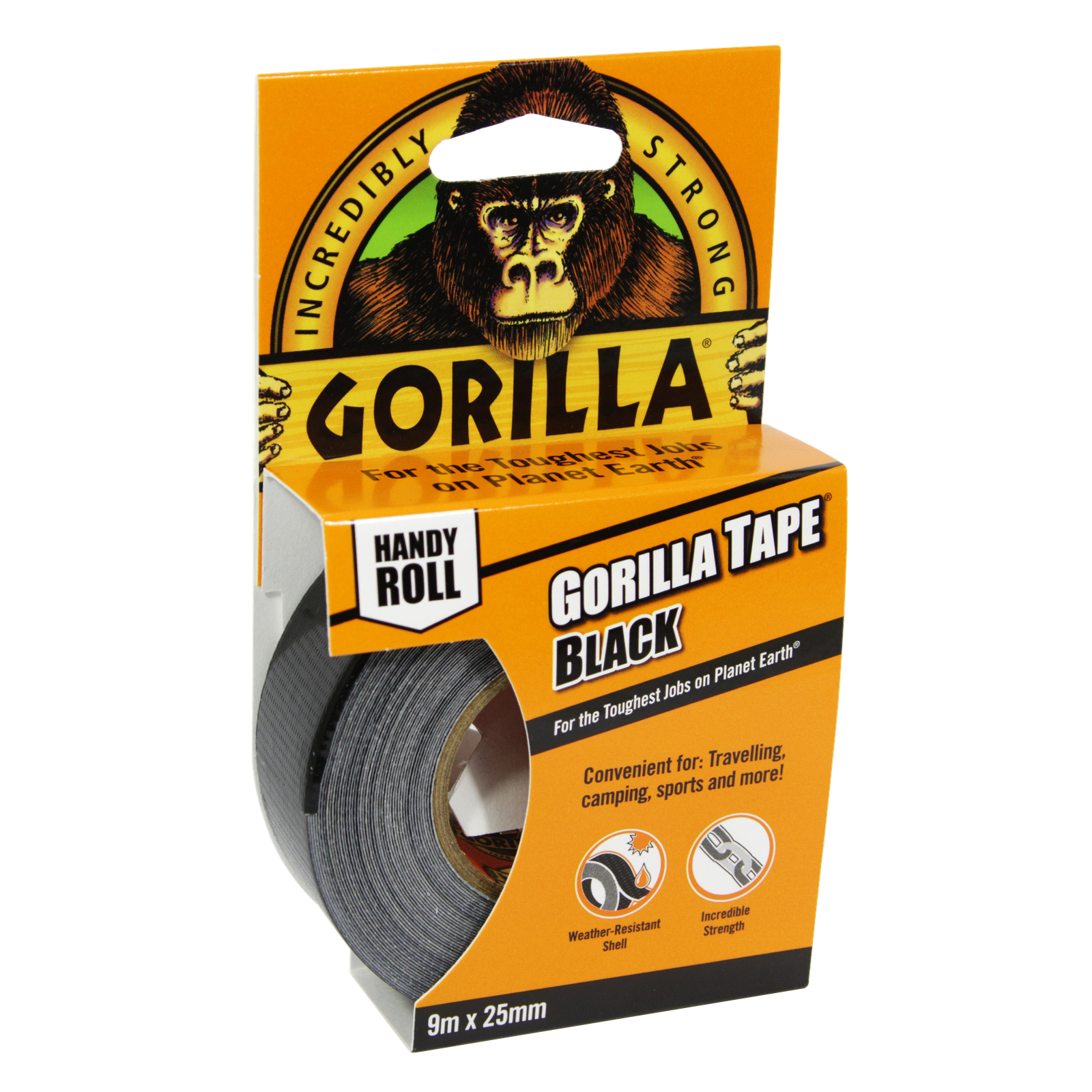 GORILLA TAPE HANDY ROLL 9M BLACK