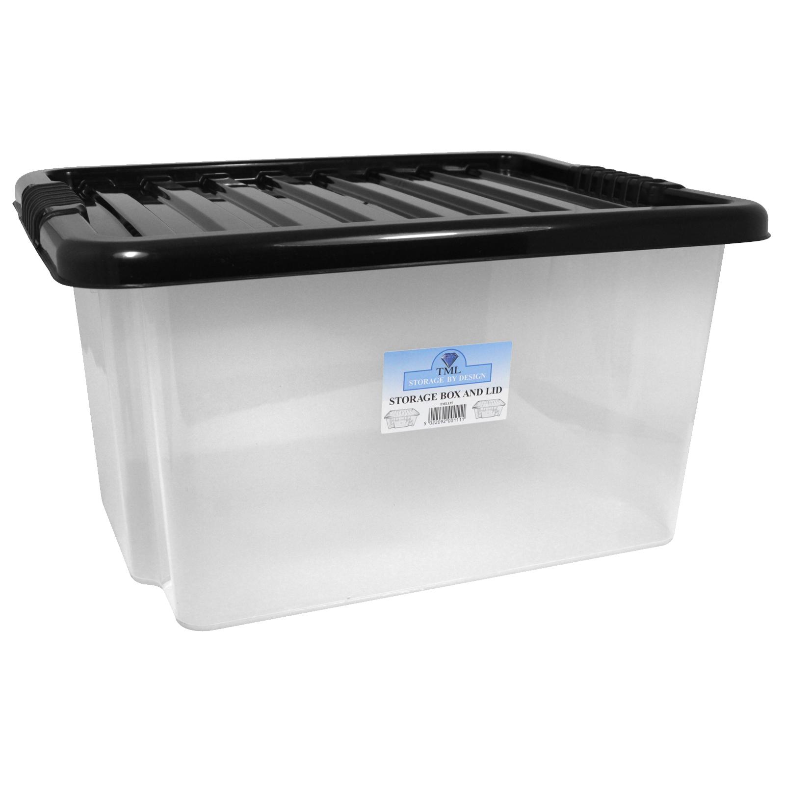 CLEAR BOX+BLACK LID 35L
